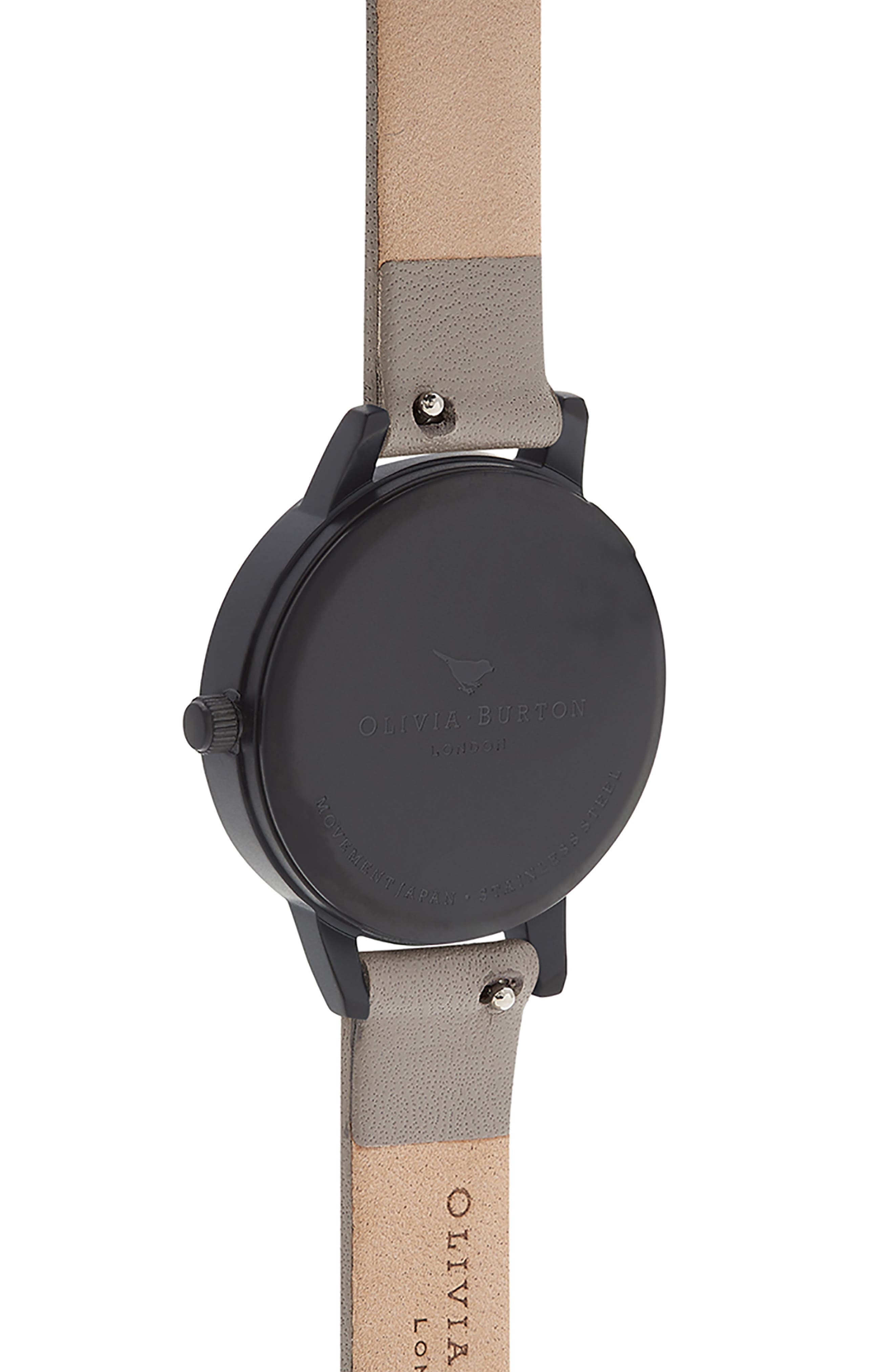 After Dark Floral Leather Strap Watch, 30mm,                             Alternate thumbnail 3, color,                             GREY/ ROSE/ BLACK