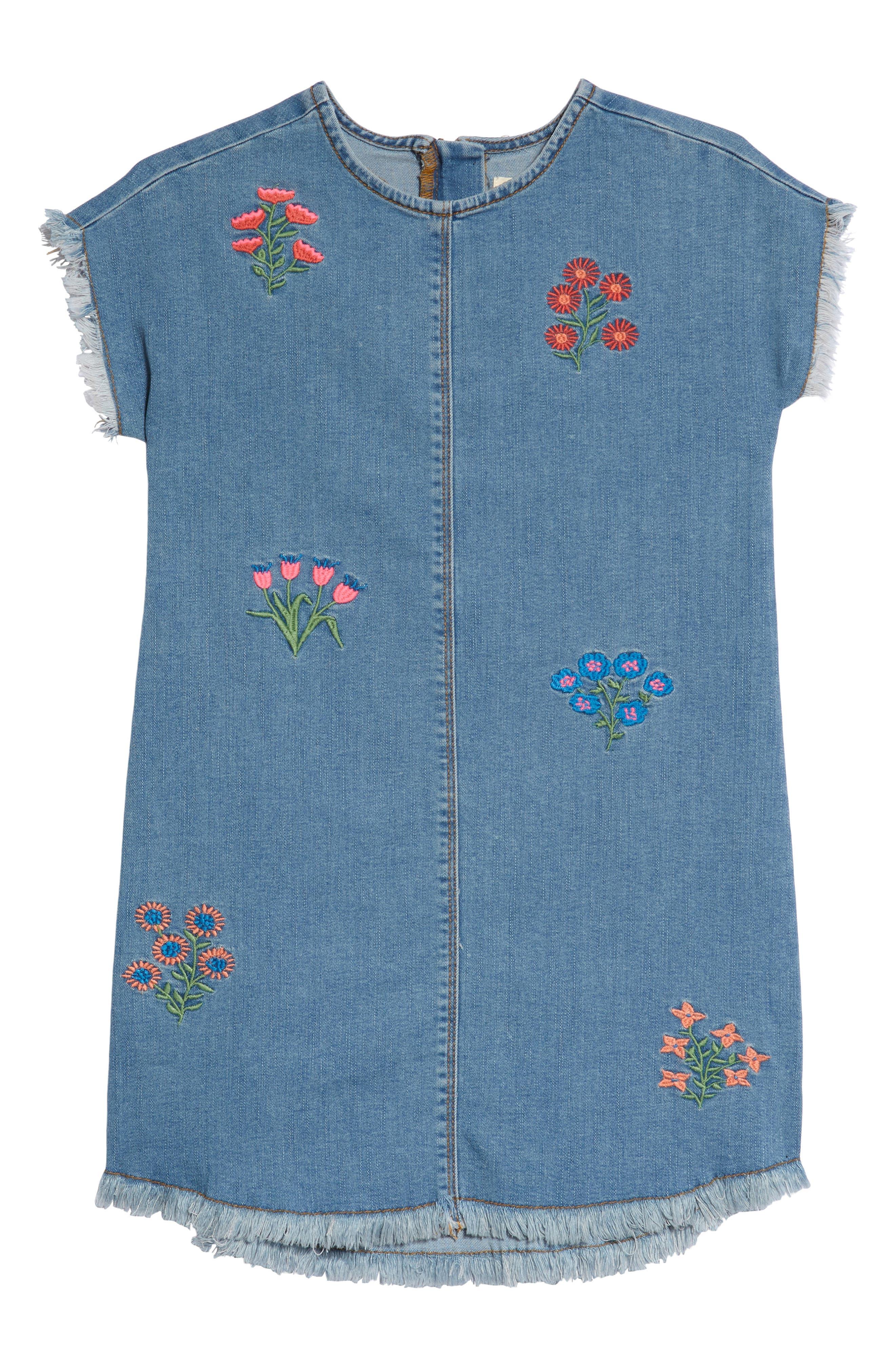 Embroidered Denim Shift Dress,                         Main,                         color, 420