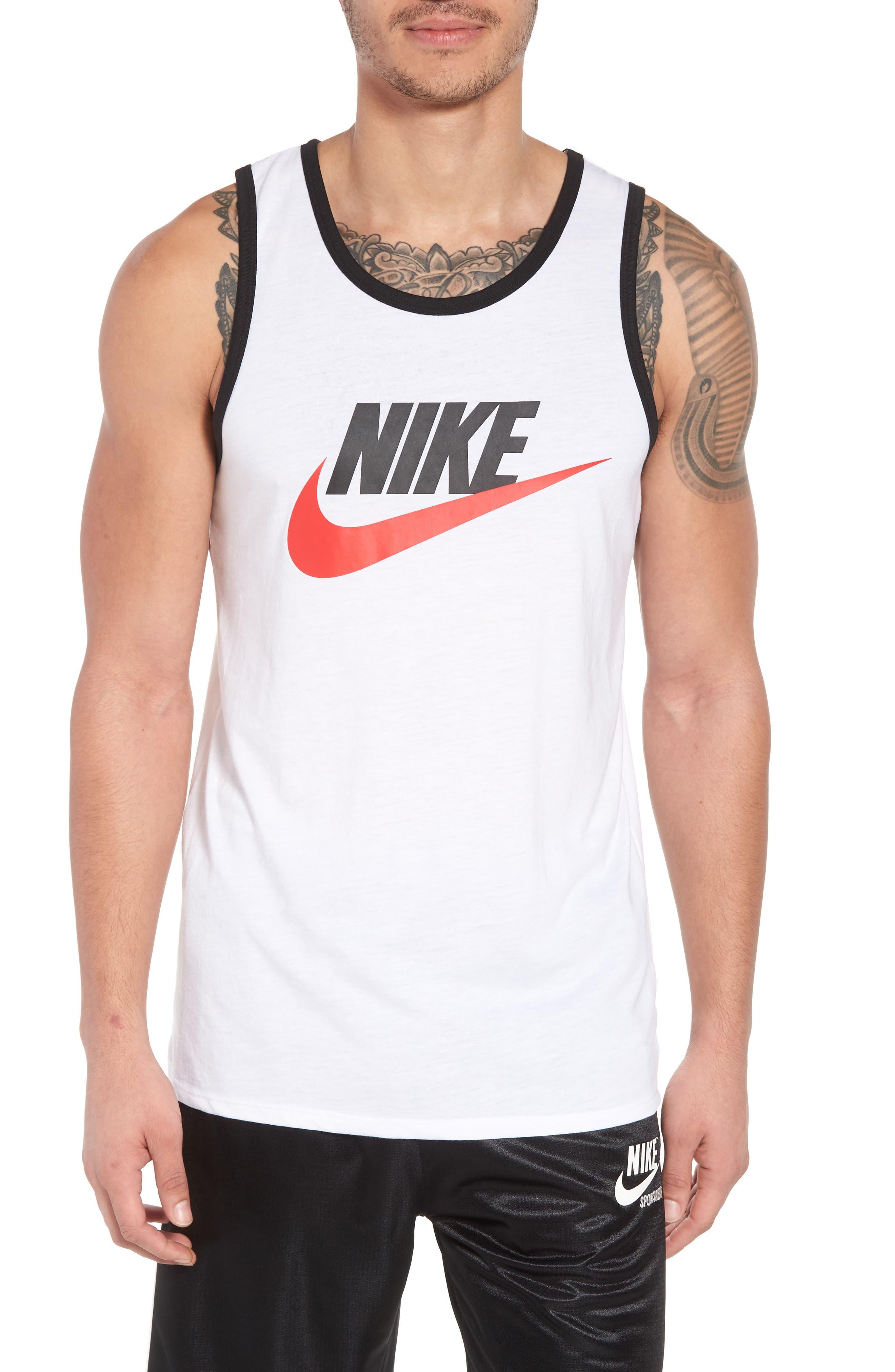 'Ace Sportswear Logo' Graphic Tank,                         Main,                         color, WHITE/ BLACK/ UNIVERSITY RED