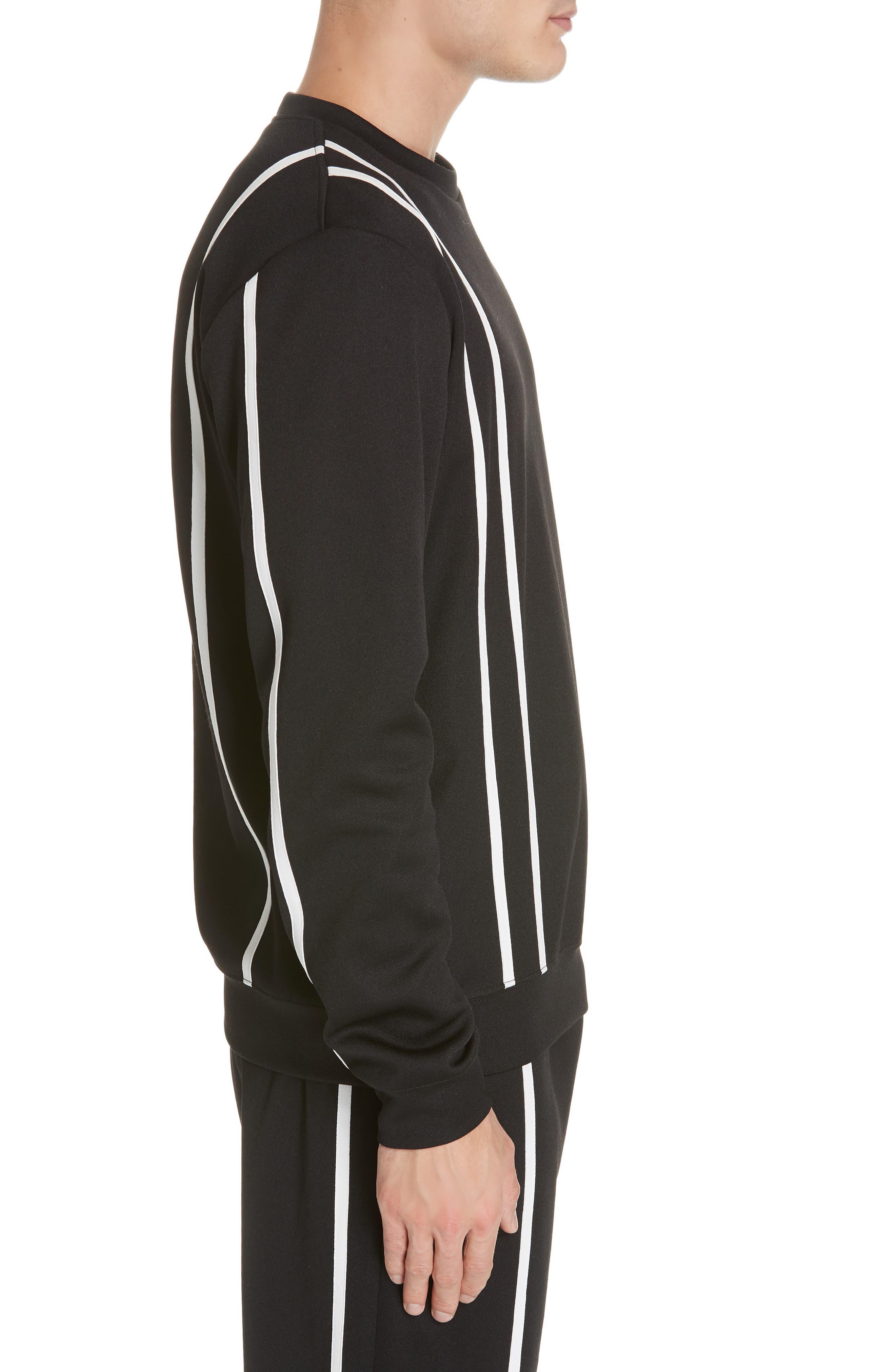 HELMUT LANG,                             Sport Stripe Print Sweatshirt,                             Alternate thumbnail 3, color,                             BLACK AND WHITE