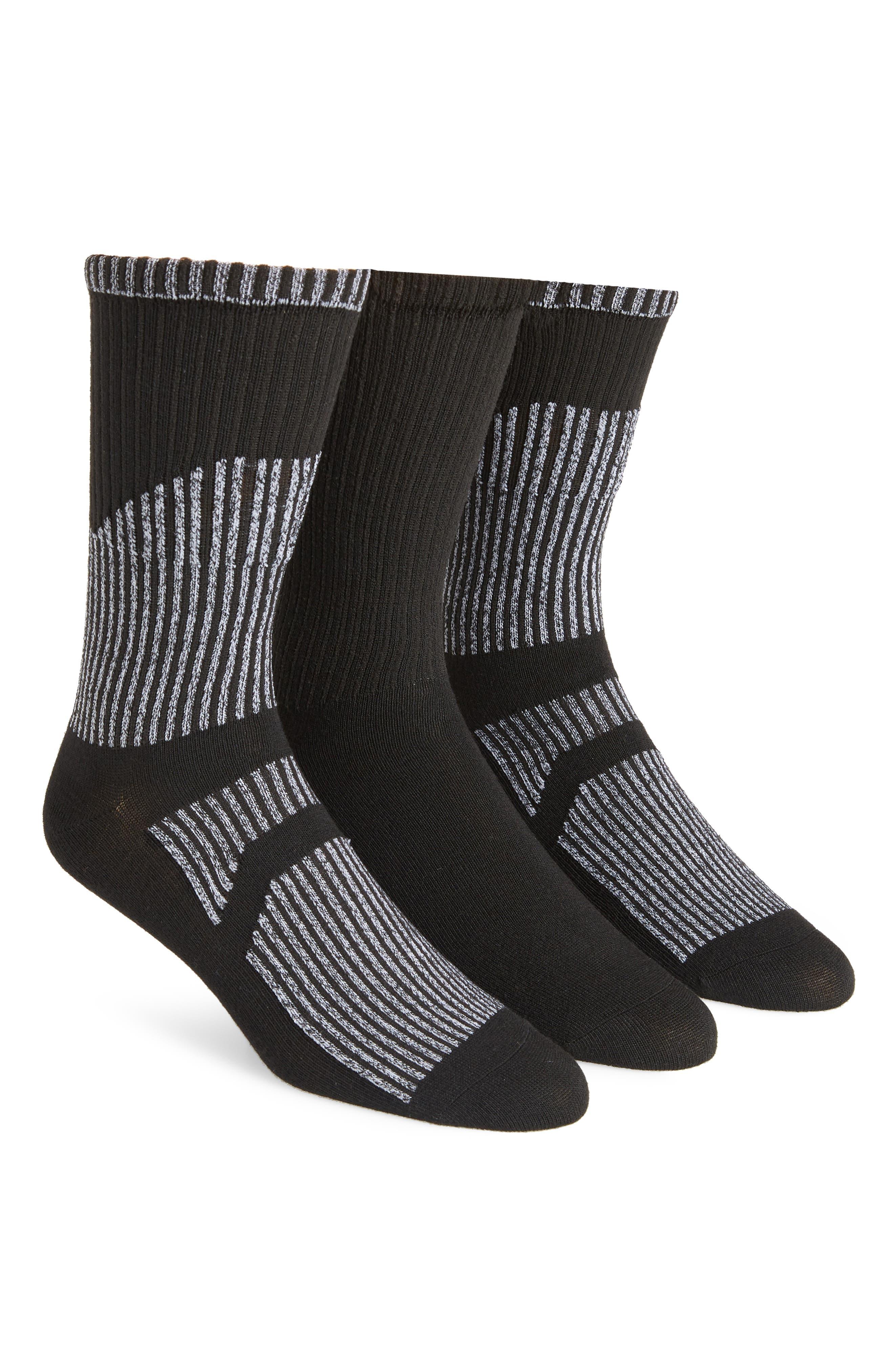 ADIDAS ORIGINALS,                             Prime Mesh III 3-Pack Crew Socks,                             Main thumbnail 1, color,                             BLACK/ WHITE MARL