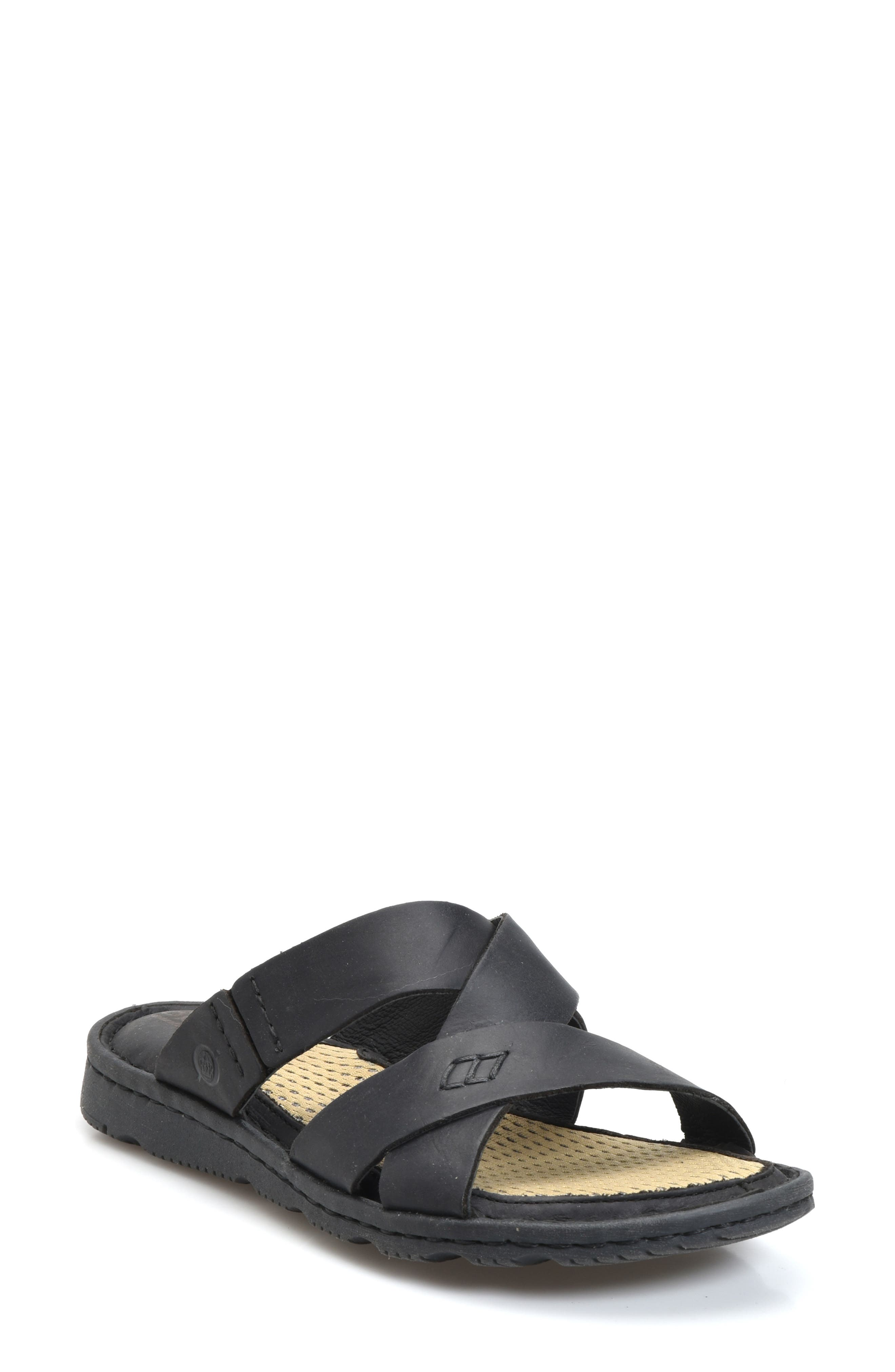Hayka Asymmetrical Slide Sandal,                             Main thumbnail 1, color,                             BLACK LEATHER