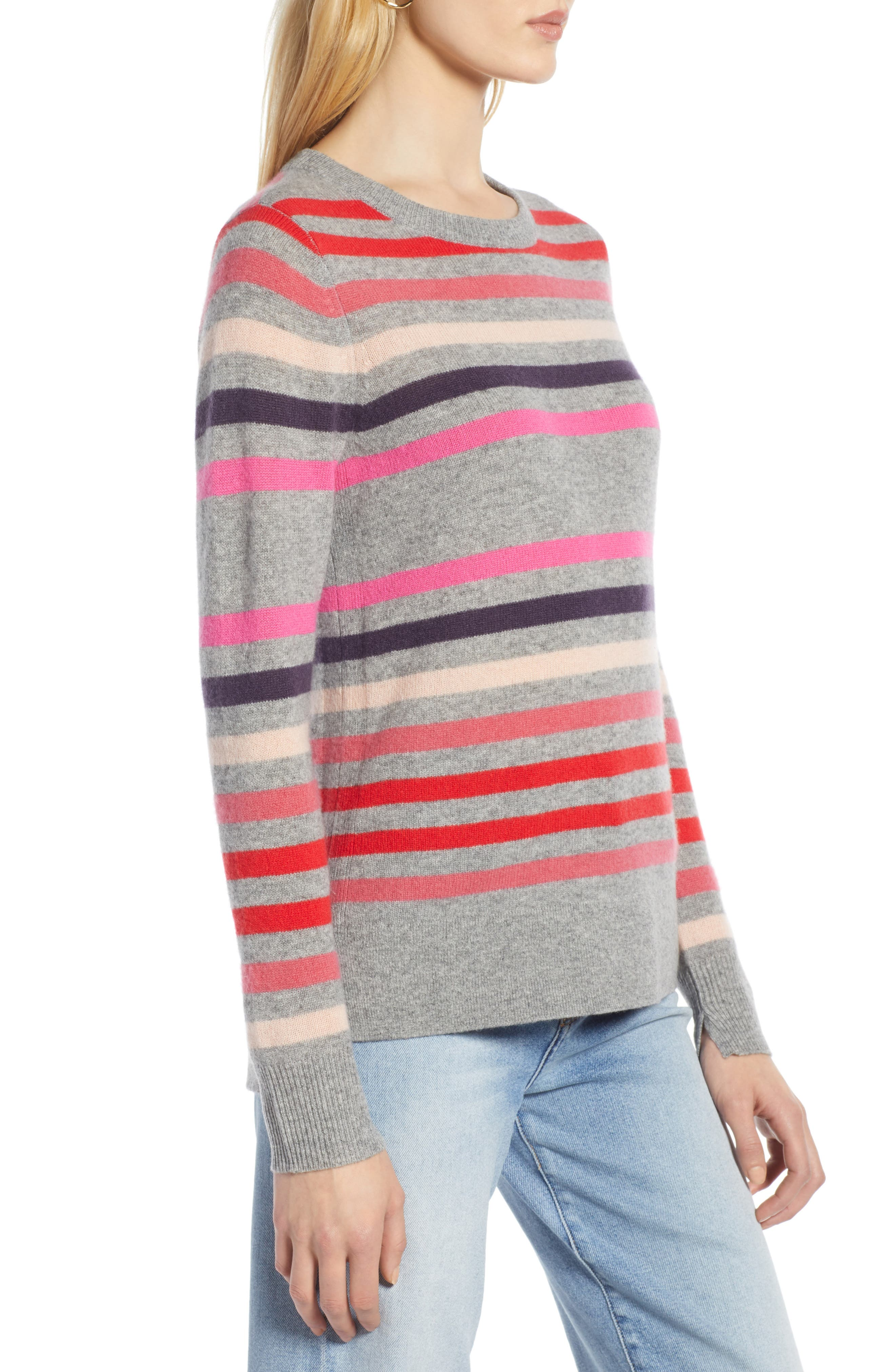 Crewneck Cashmere Sweater,                             Alternate thumbnail 3, color,                             GREY- PINK STRIPE