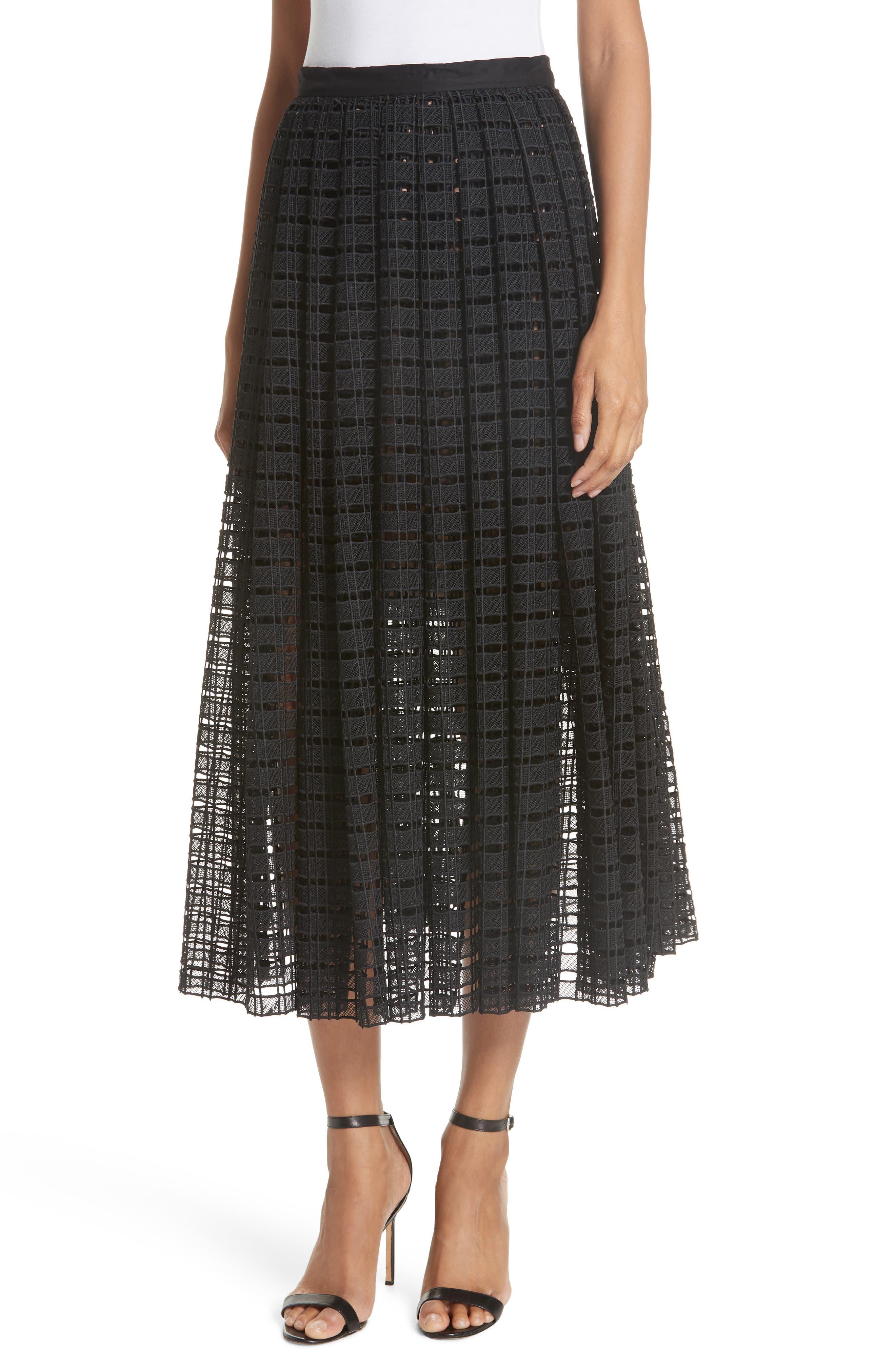 Lace Mesh Midi Skirt,                             Main thumbnail 1, color,                             001