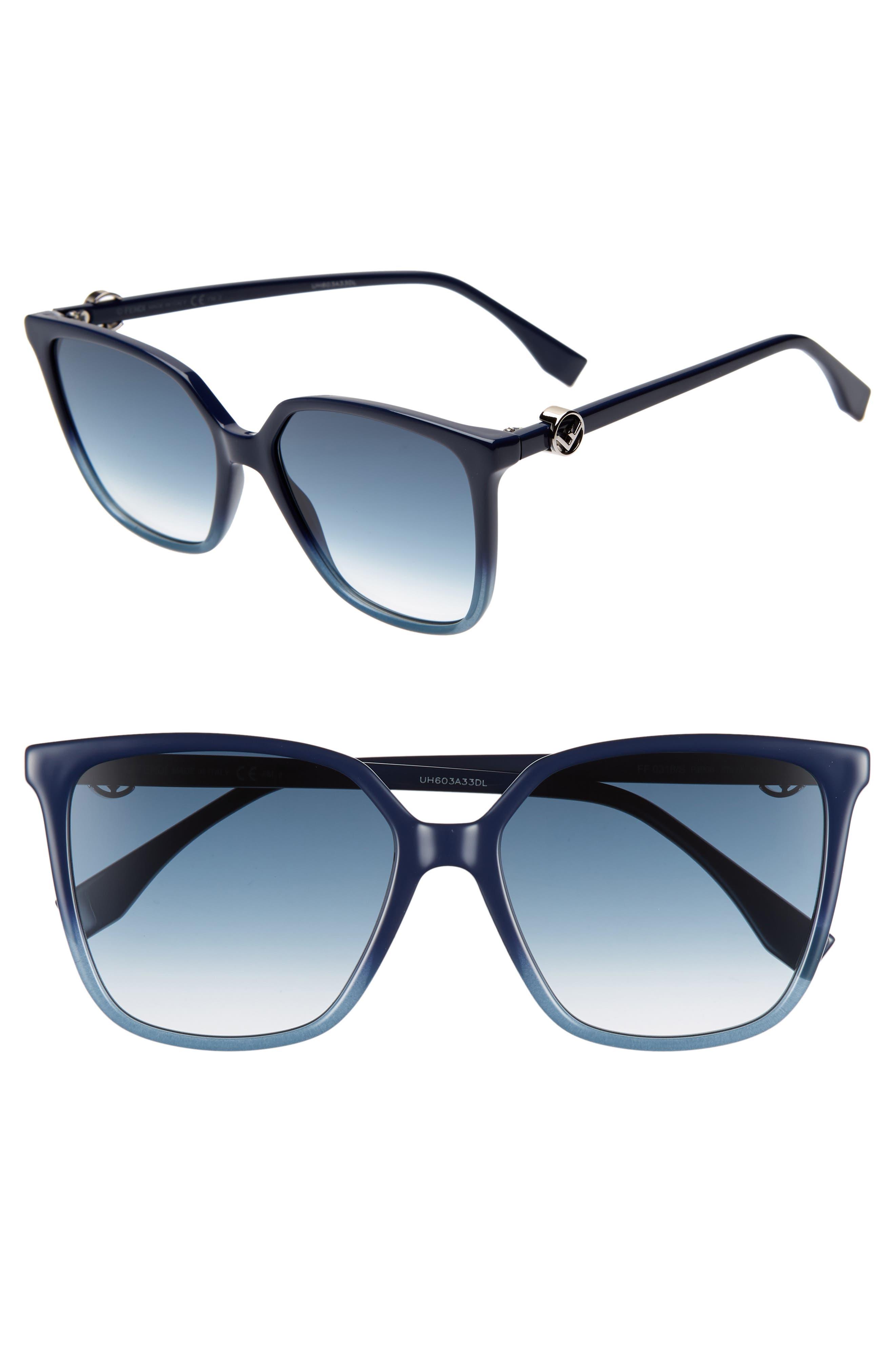 57mm Sunglasses,                             Main thumbnail 1, color,                             BLUE