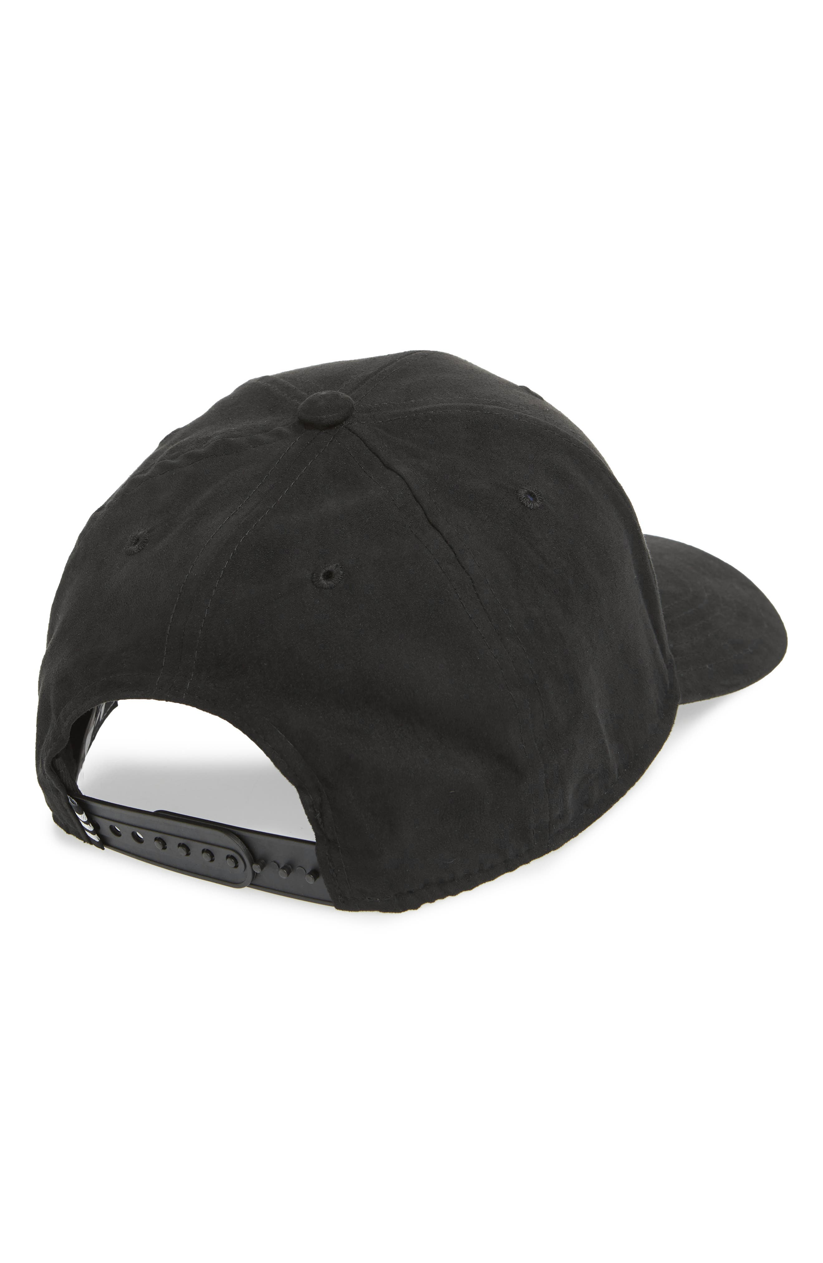 Trefoil Snapback Baseball Cap,                             Alternate thumbnail 2, color,                             BLACK/ WHITE