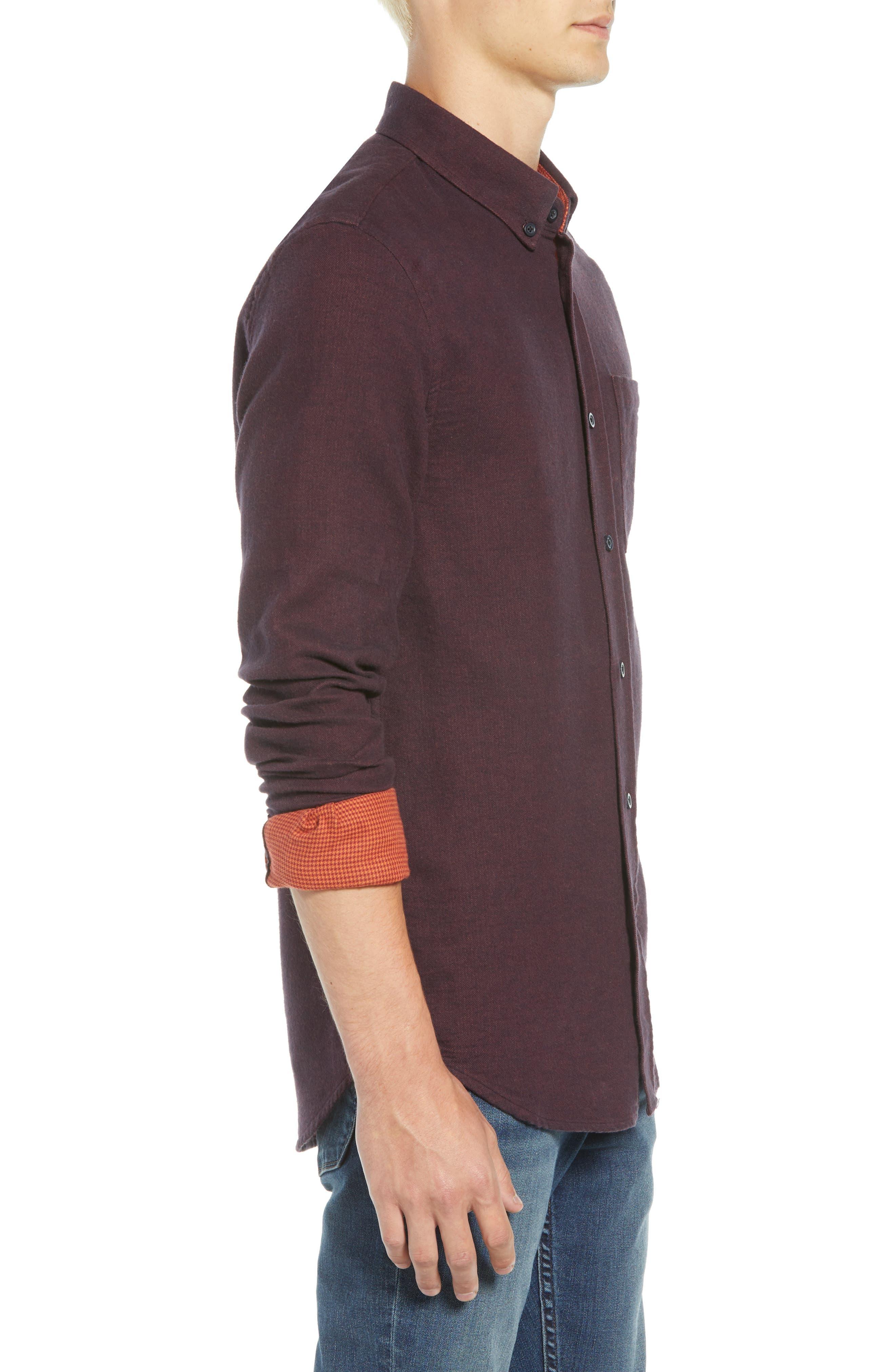 Regular Fit Button Down Sport Shirt,                             Alternate thumbnail 4, color,                             DEEP PURPLE MELANGE