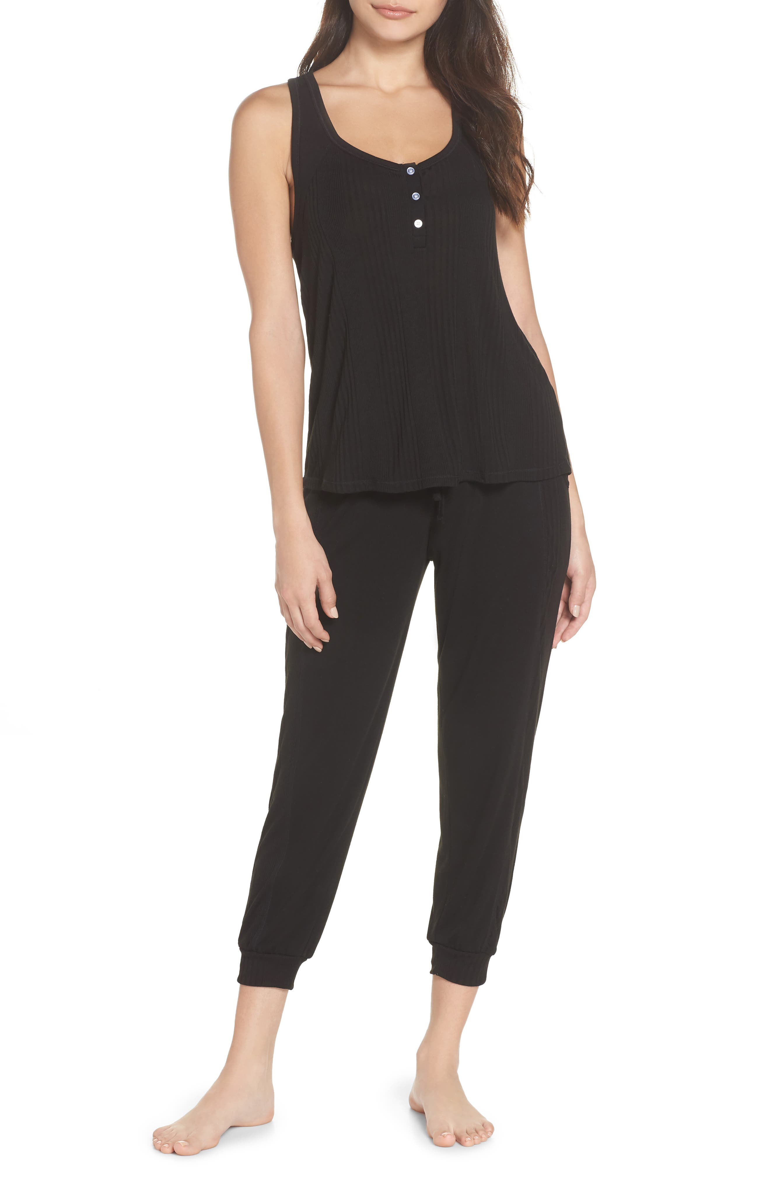 Crop Pajama Pants,                             Alternate thumbnail 7, color,                             BLACK