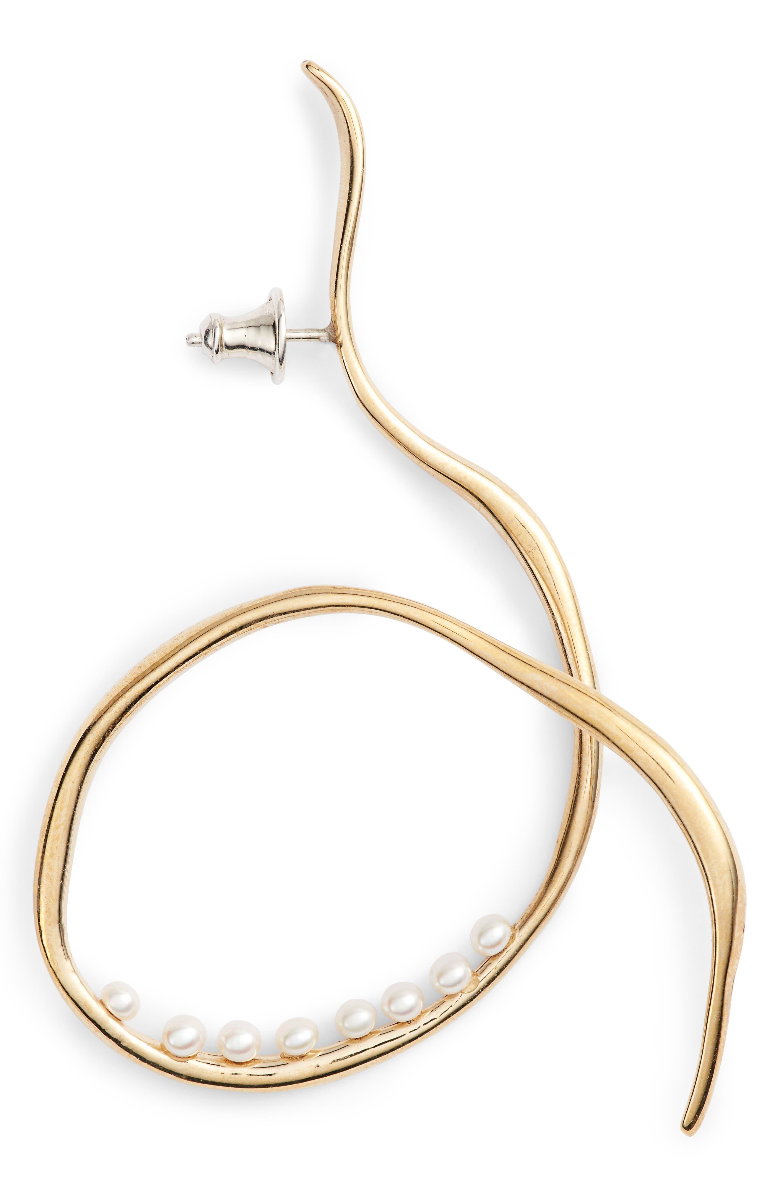 Vinea Freshwater Pearl Earrings,                             Alternate thumbnail 5, color,                             BRONZE