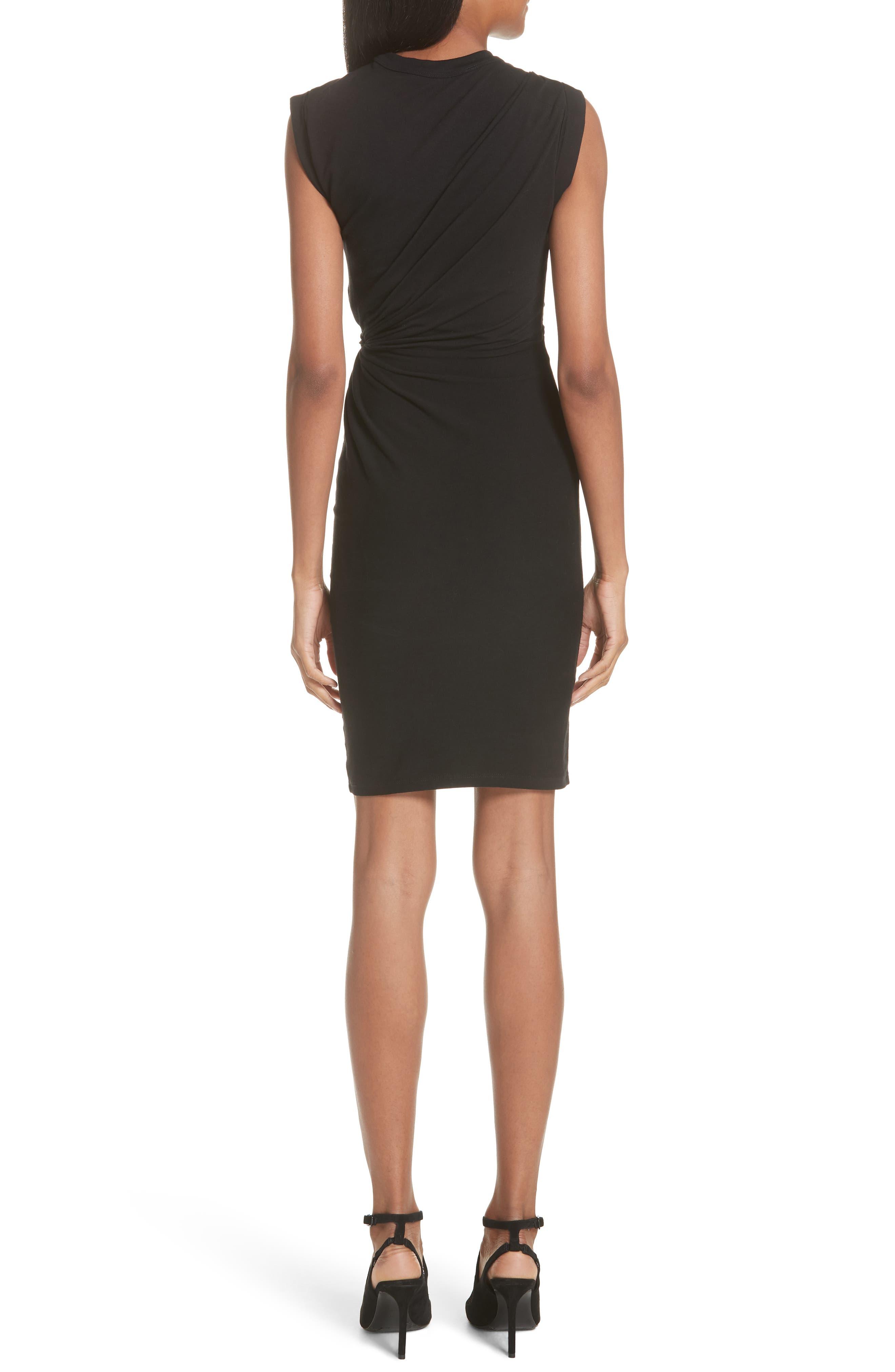 Keyhole Twist Compact Jersey Dress,                             Alternate thumbnail 2, color,                             BLACK