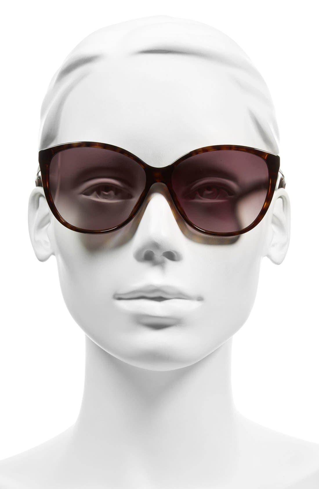 58mm Polarized Butterfly Sunglasses,                             Alternate thumbnail 2, color,                             DARK HAVANA