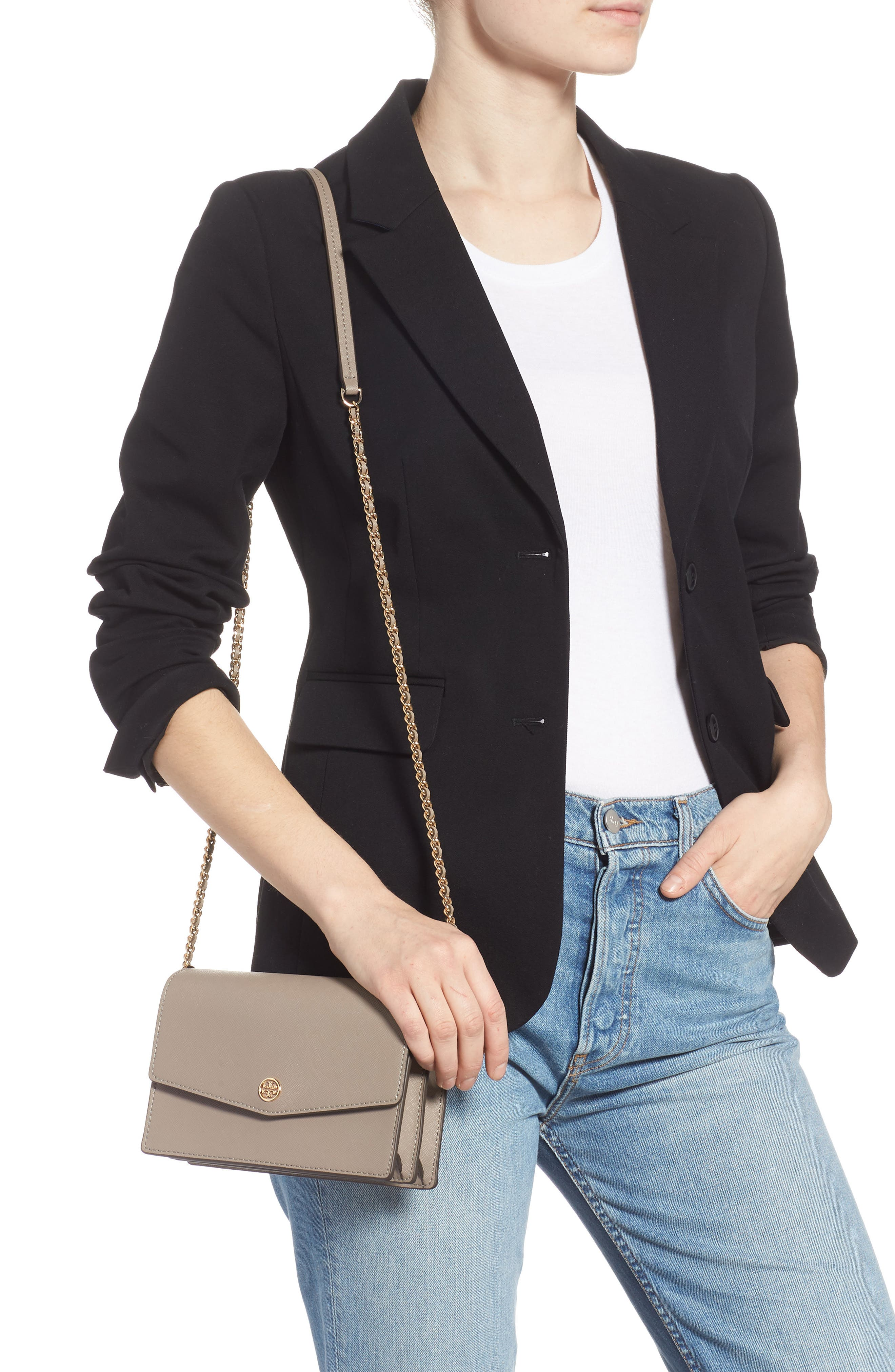 Mini Robinson Convertible Leather Shoulder Bag,                             Alternate thumbnail 2, color,                             GRAY HERON