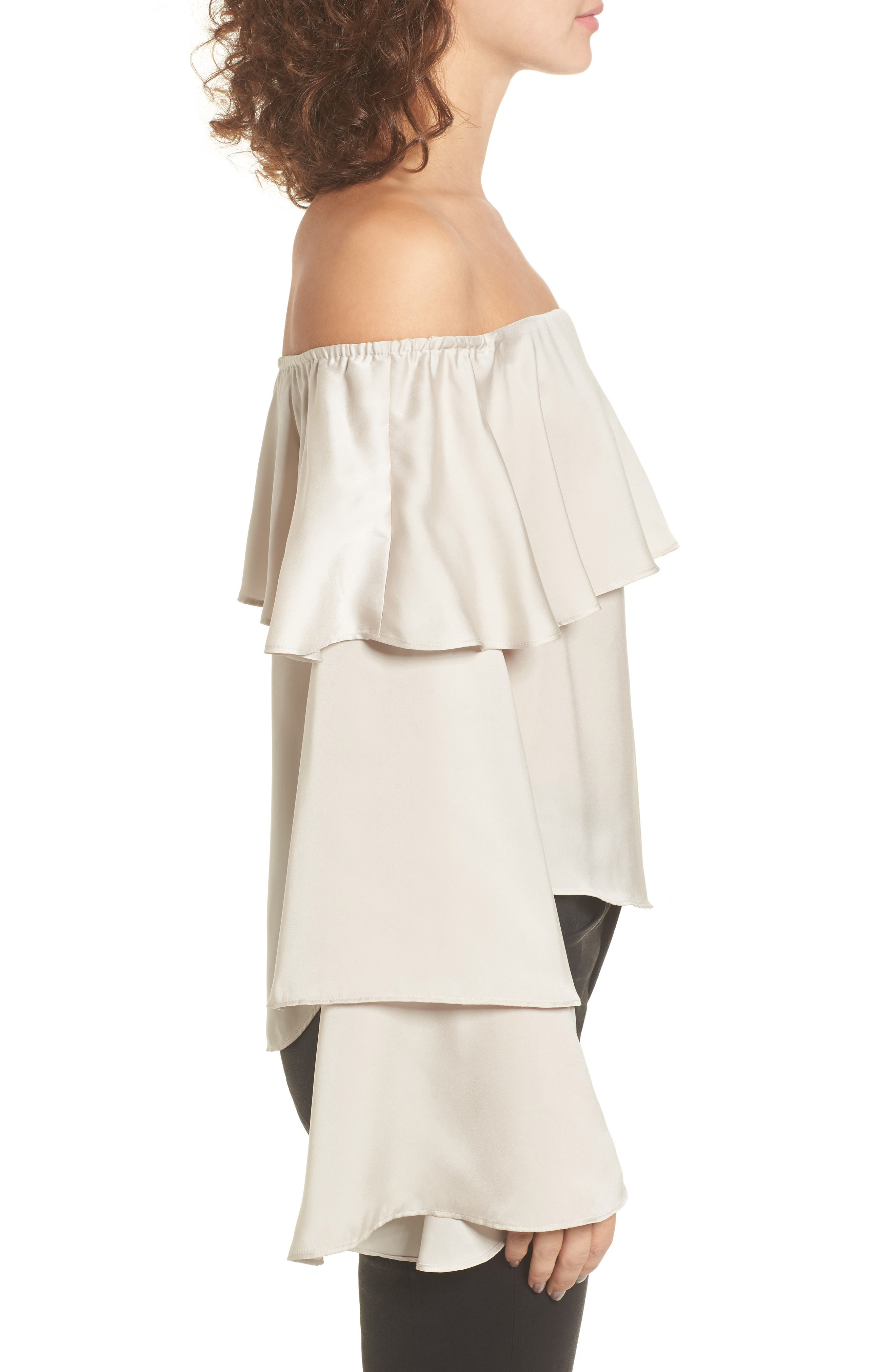 Off the Shoulder Ruffle Top,                             Alternate thumbnail 3, color,                             050