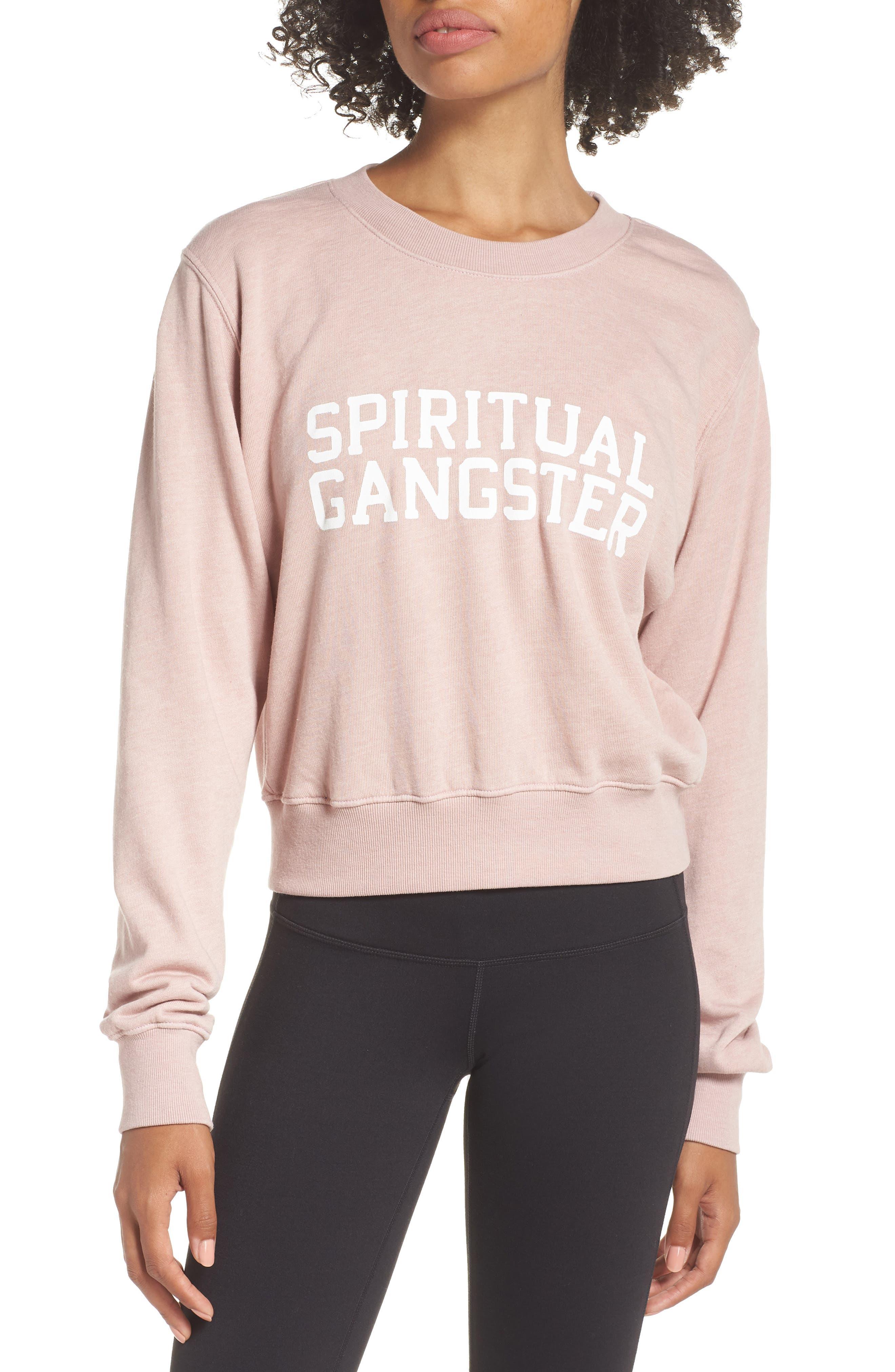 Varsity Crop Sweatshirt,                         Main,                         color, SHELL