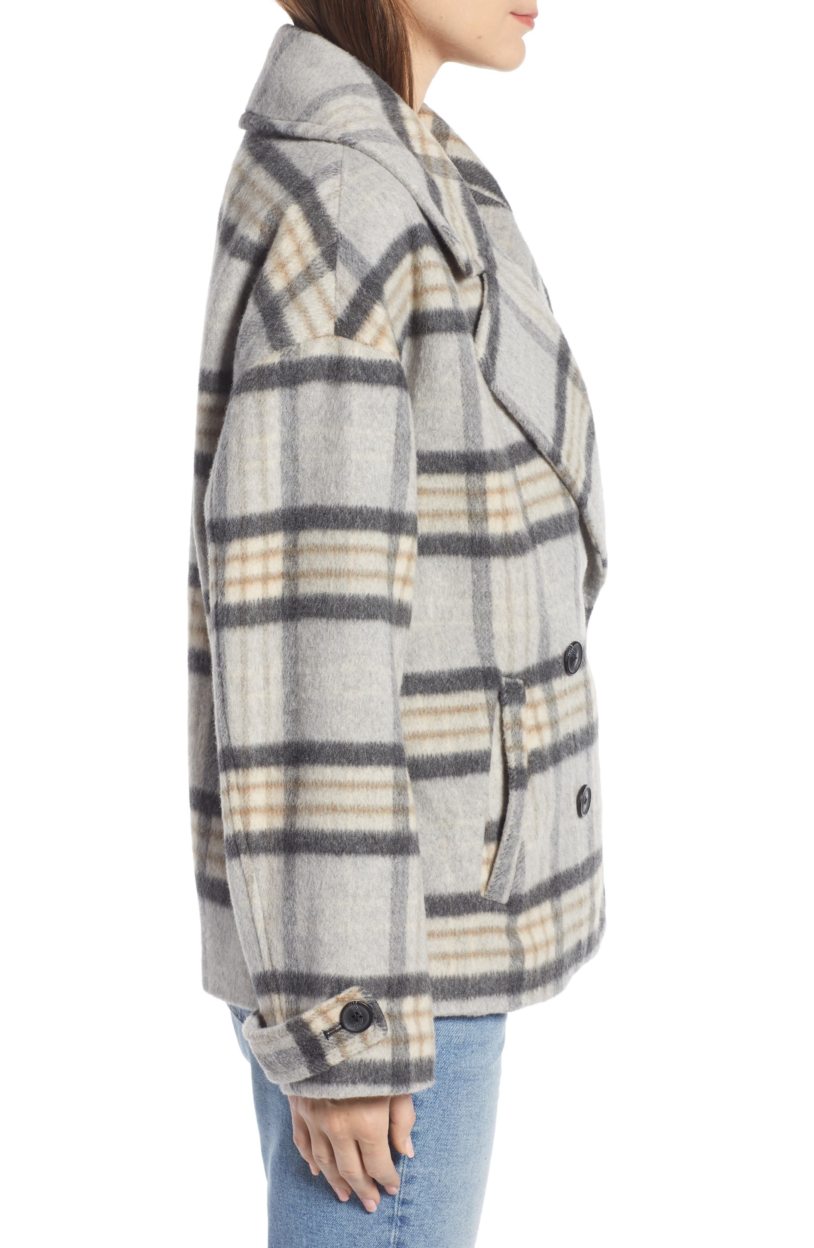 SOMETHING NAVY,                             Double Breasted Crop Jacket,                             Alternate thumbnail 4, color,                             GREY LIGHT HEATHER PLAID