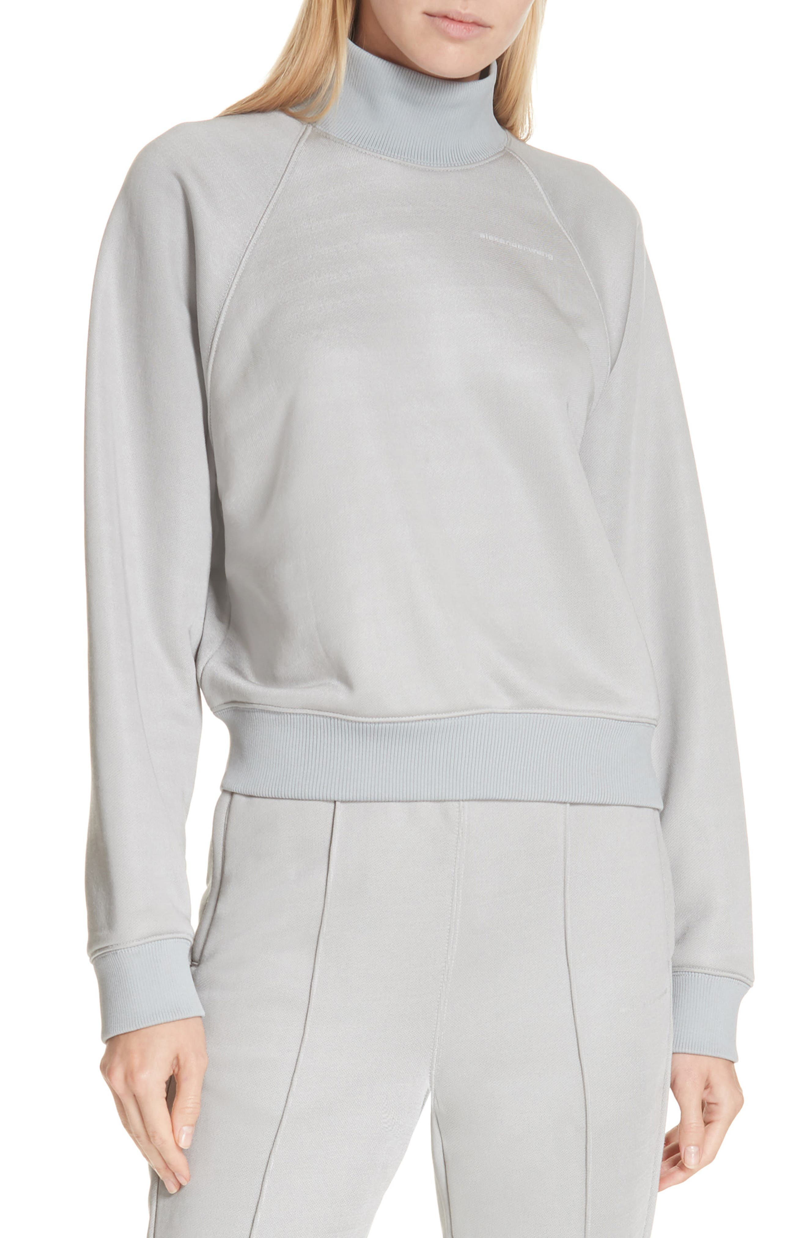 ALEXANDERWANG.T French Terry Turtleneck Sweatshirt in Silver