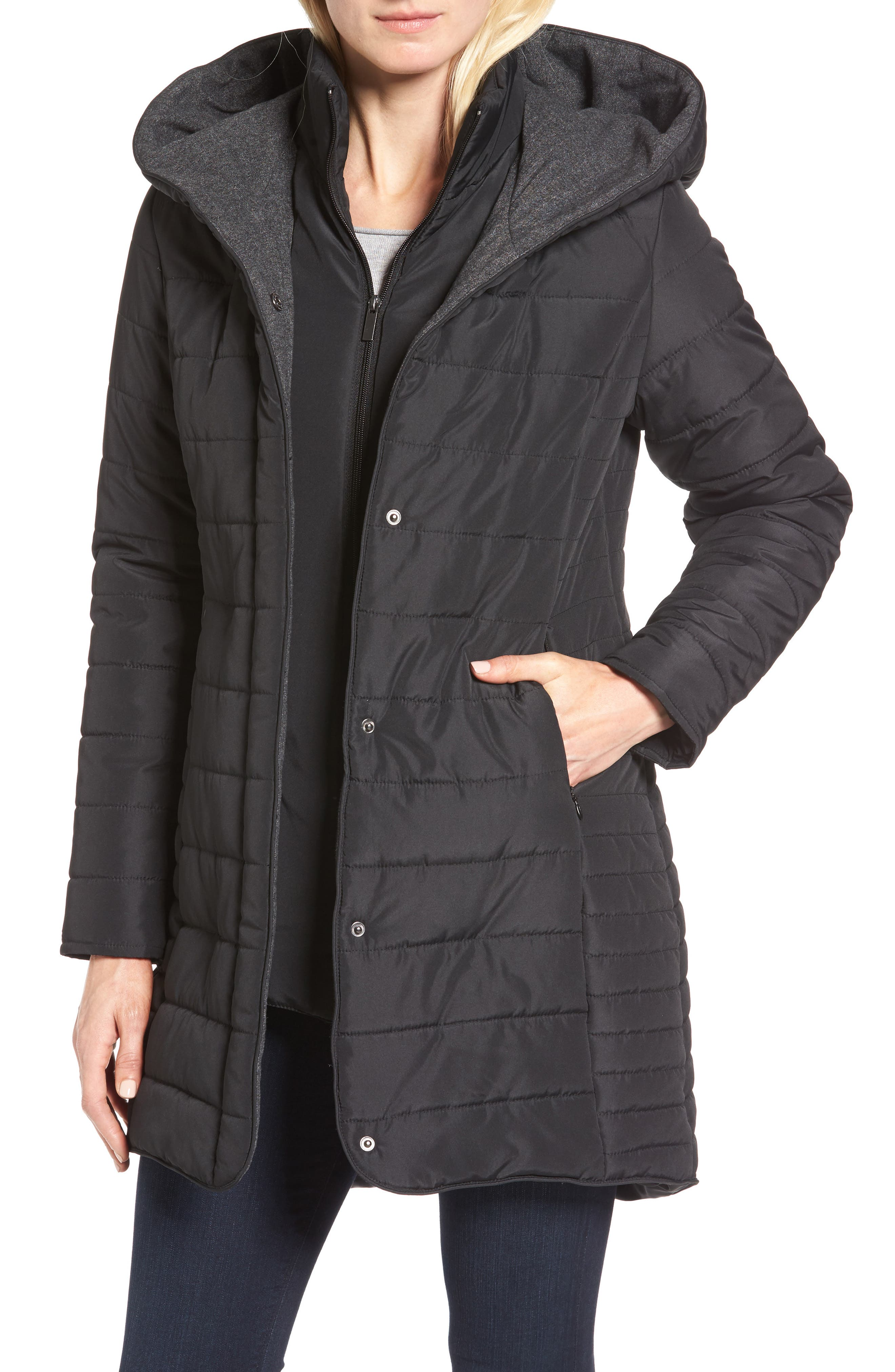 Quilted Hooded Jacket,                         Main,                         color,