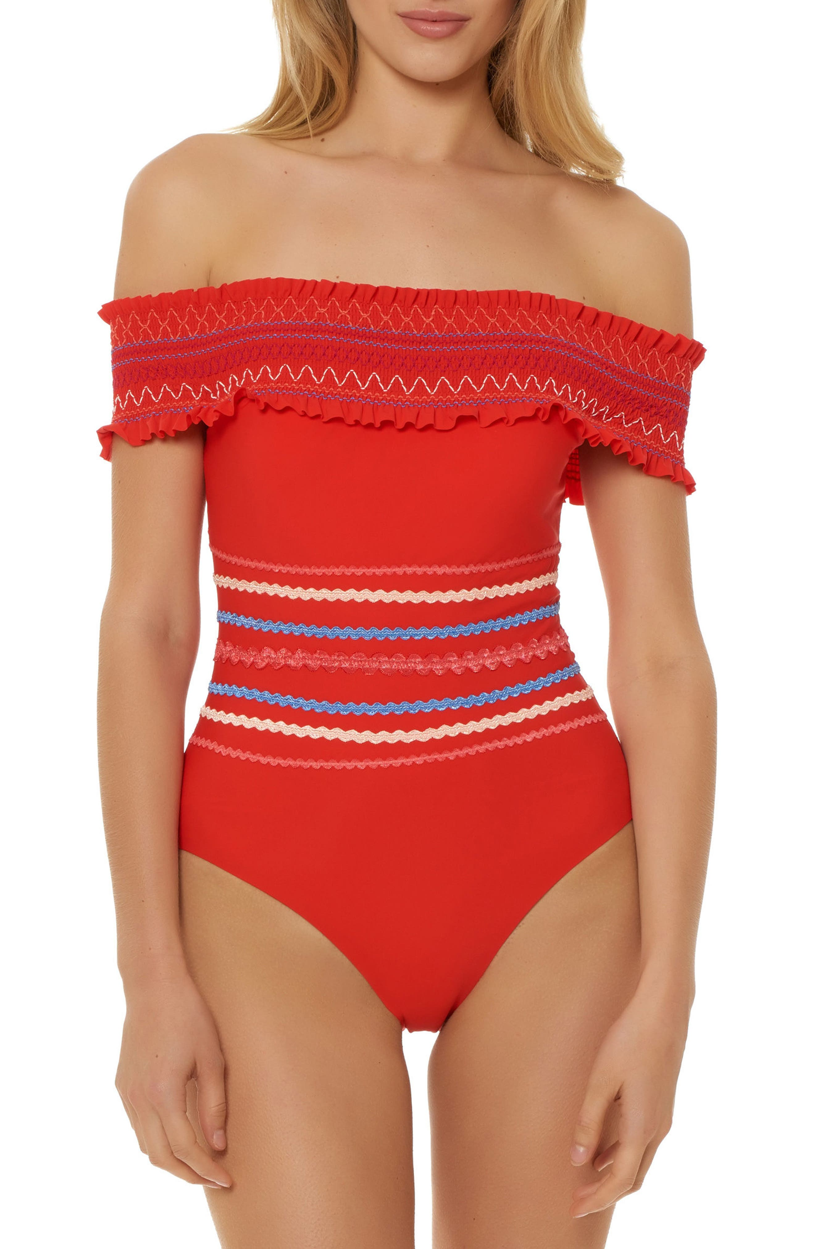 Smocked Off the Shoulder Swimsuit,                             Main thumbnail 1, color,                             RED