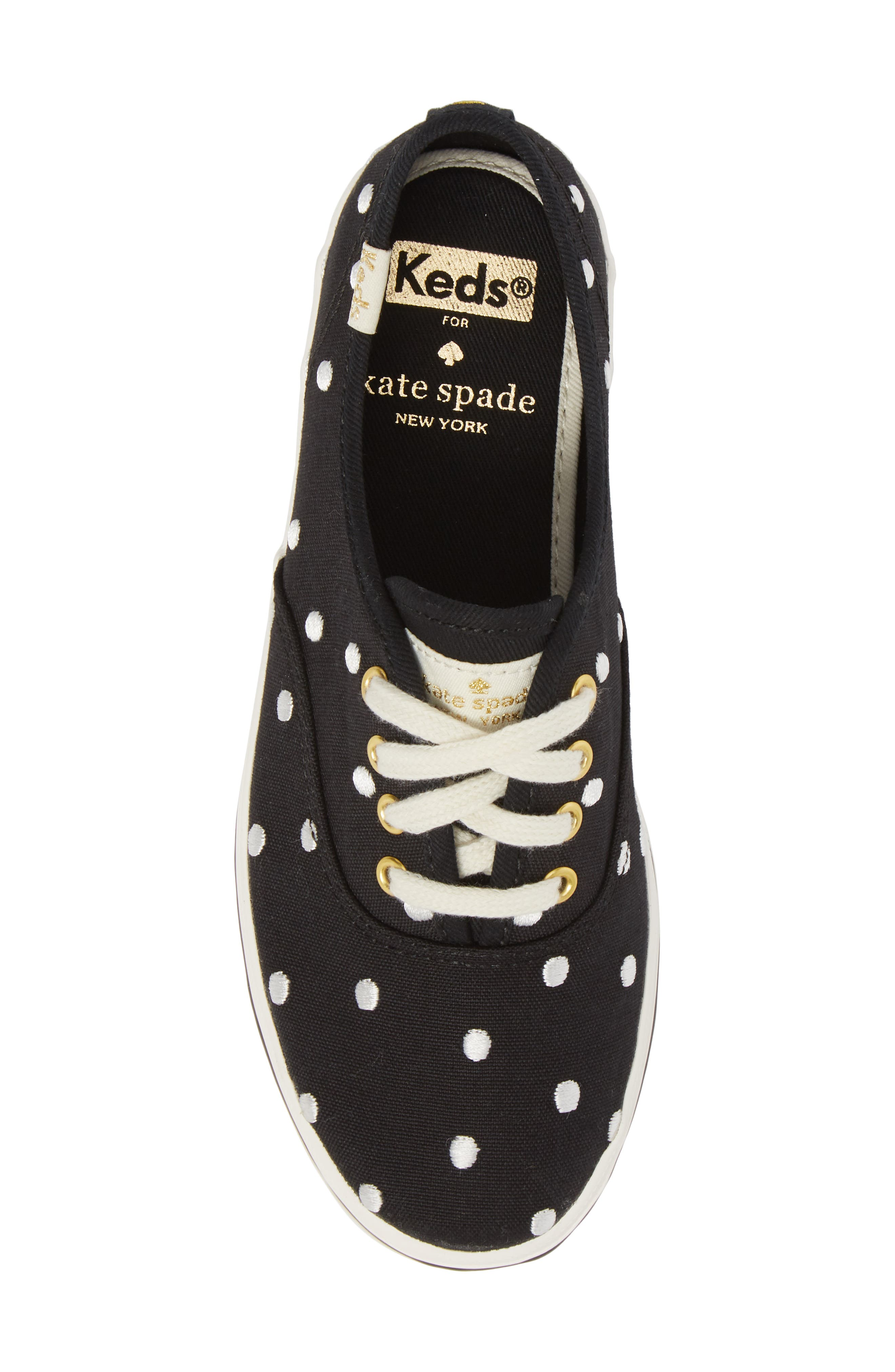 x kate spade new york champion polka dot lace-up shoe,                             Alternate thumbnail 5, color,                             BLACK DANCING DOT