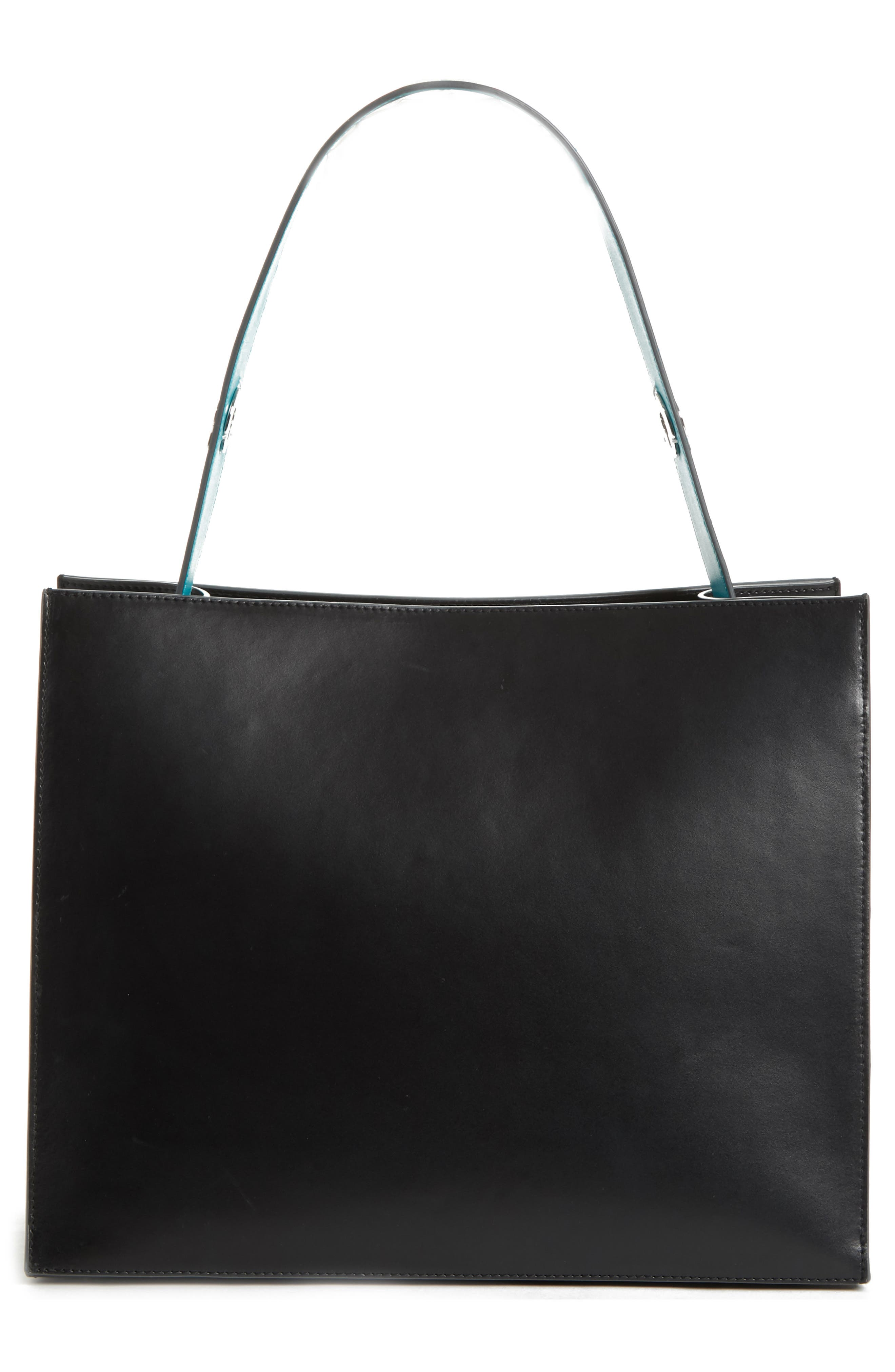 Young Leather Tote Bag,                             Alternate thumbnail 4, color,                             BLACK