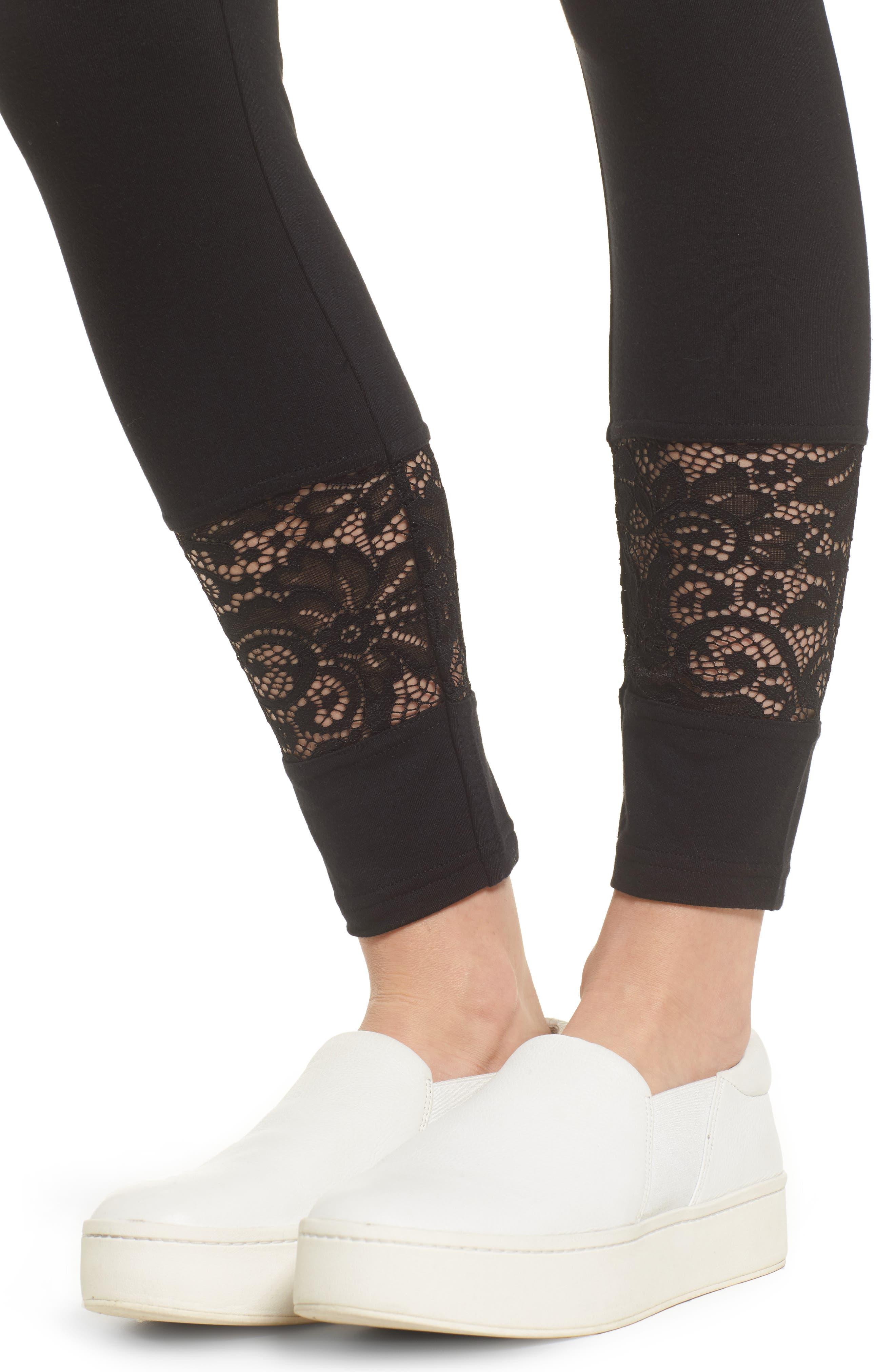 Lace Block Skimmer Leggings,                             Alternate thumbnail 4, color,                             001