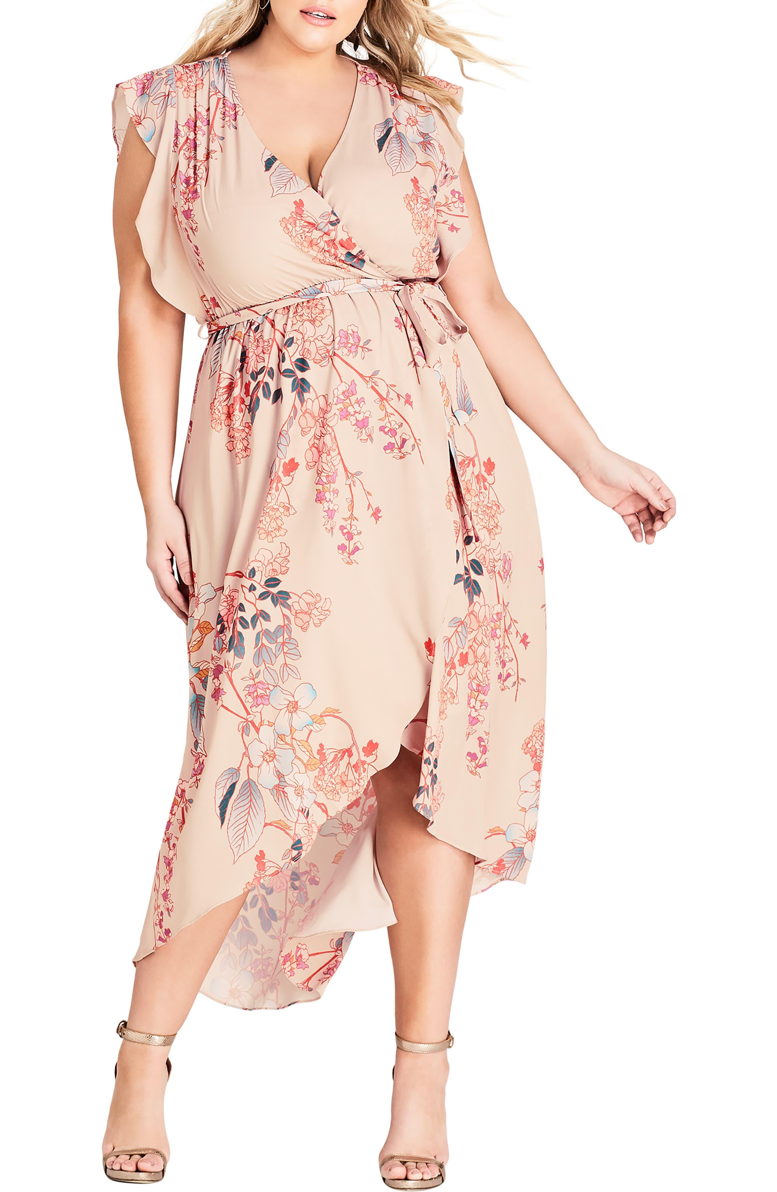 CITY CHIC Sweet Delilah Faux Wrap Maxi Dress, Main, color, SWEET DELILAH