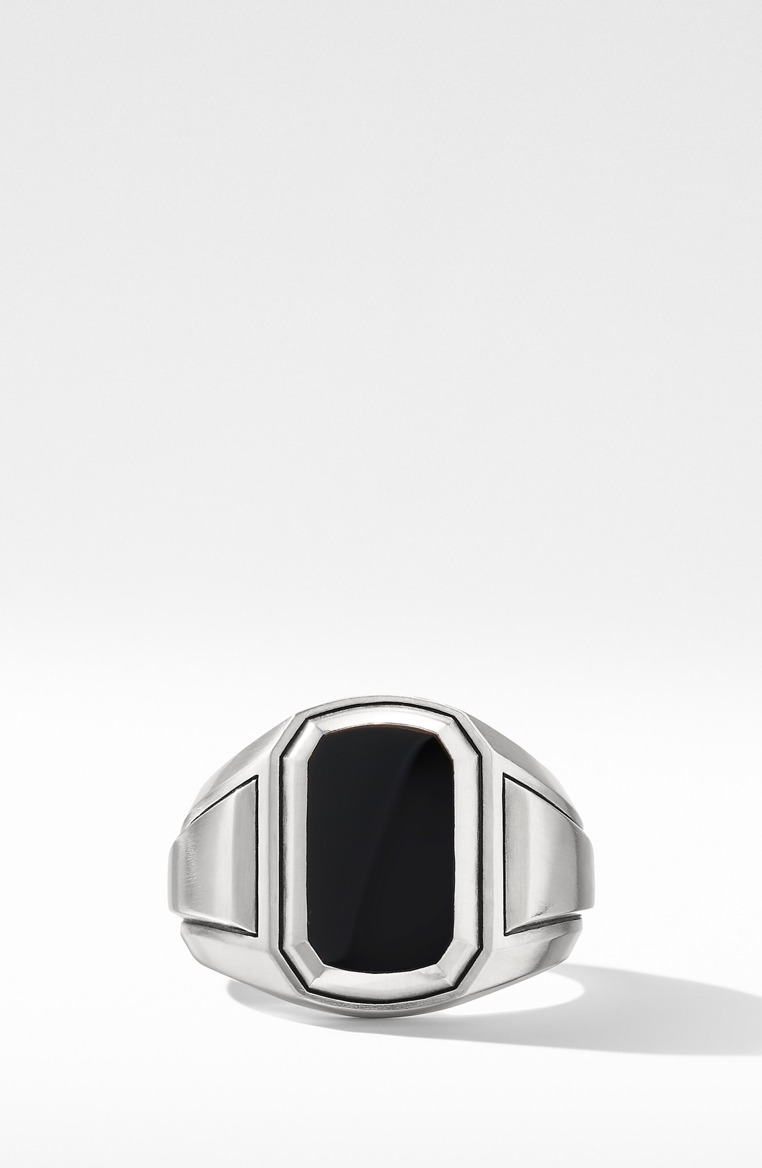 Deco Signet Ring with Black Onyx,                             Alternate thumbnail 3, color,                             BLACK ONYX