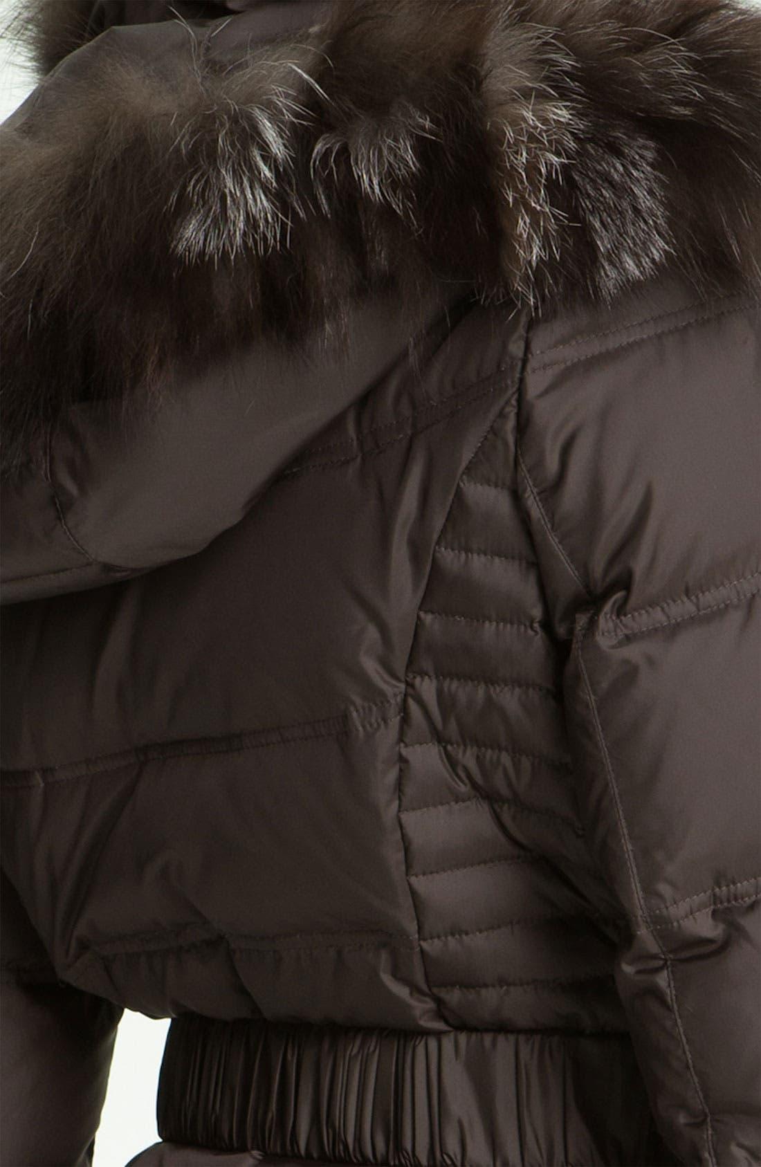 Down Coat with Genuine Fox Fur Trim,                             Alternate thumbnail 3, color,