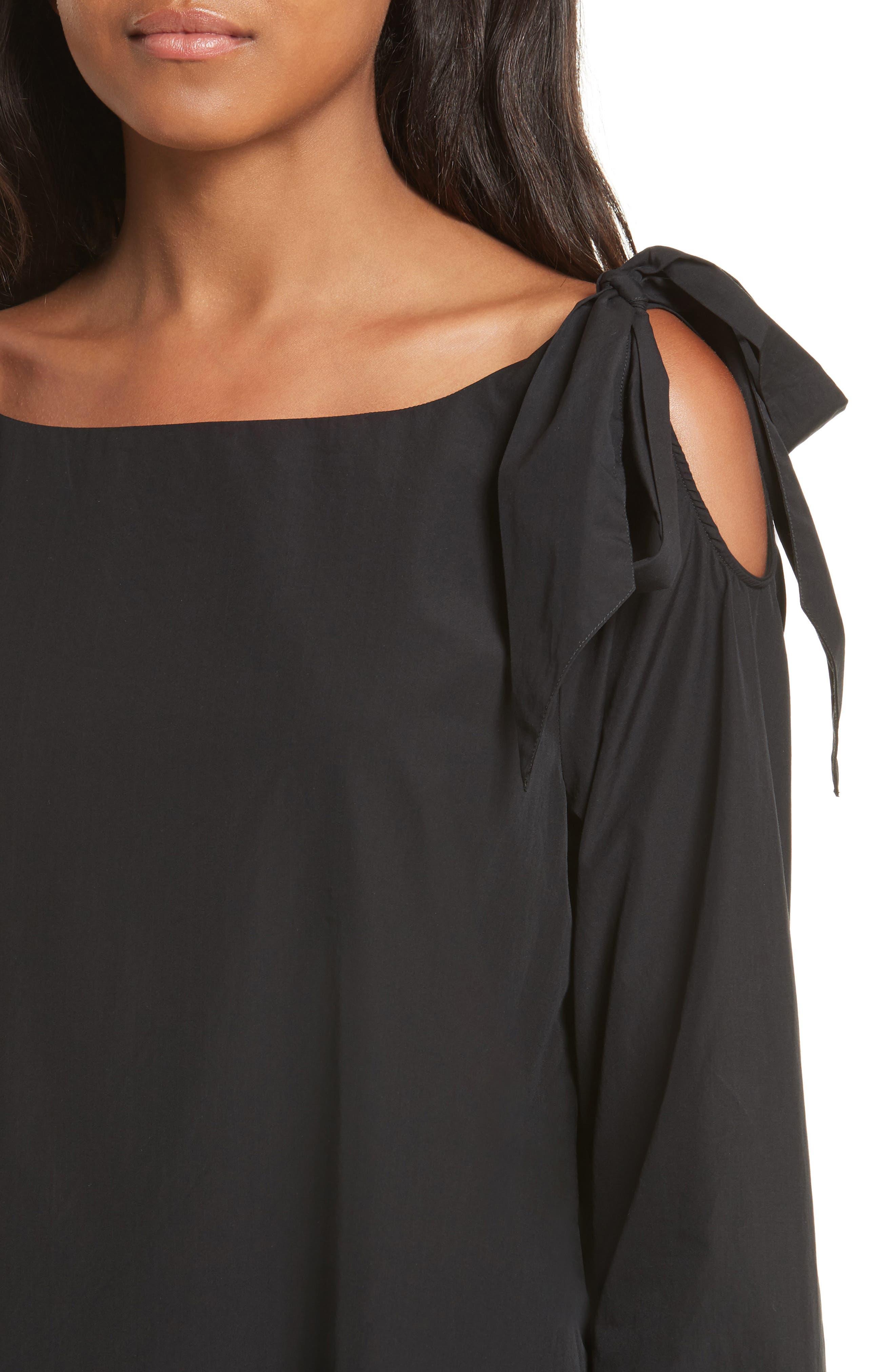 Bow Cold Shoulder Dress,                             Alternate thumbnail 4, color,                             001