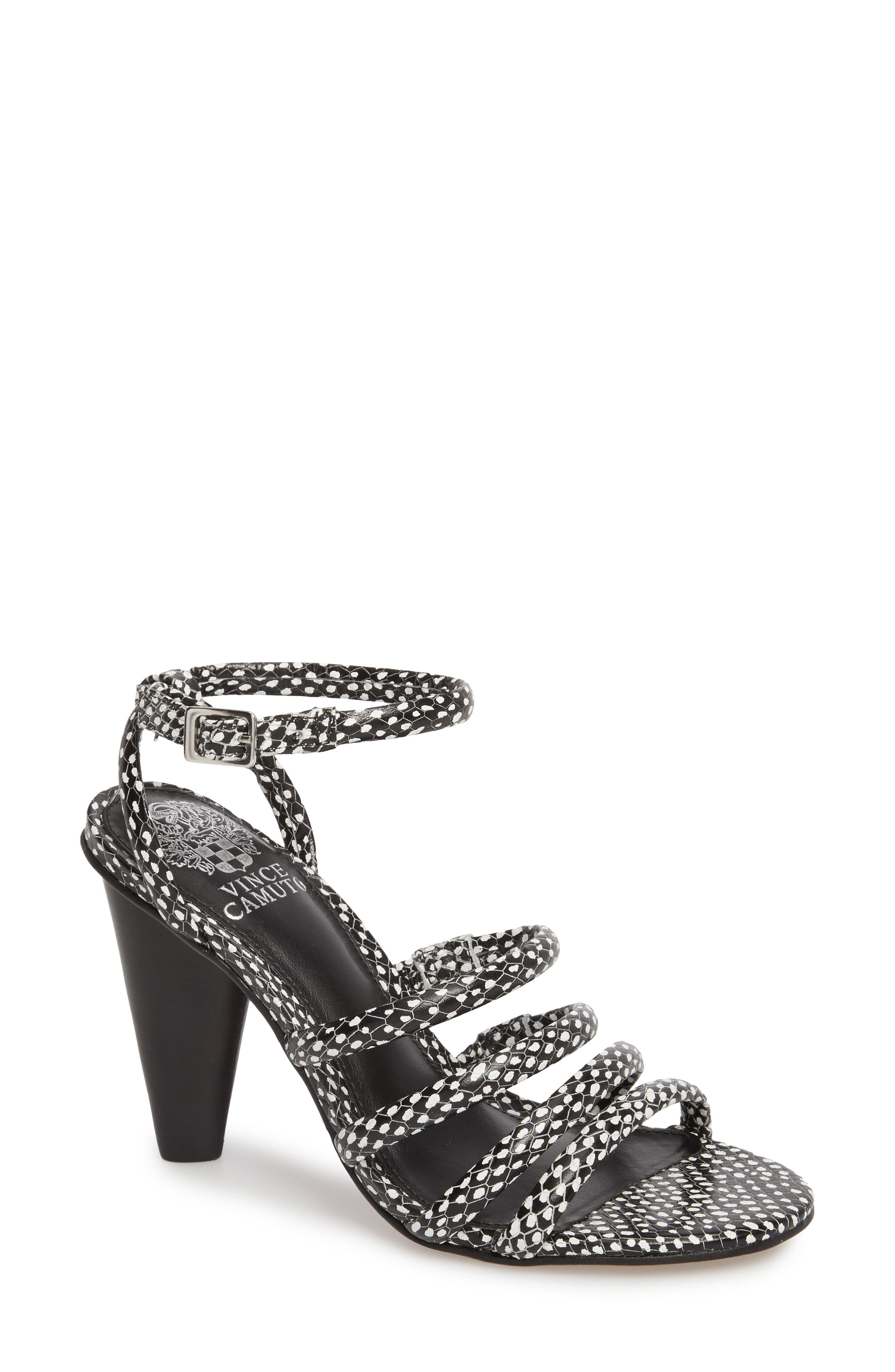Kaniana Cone Heel Cage Sandal,                         Main,                         color, 002
