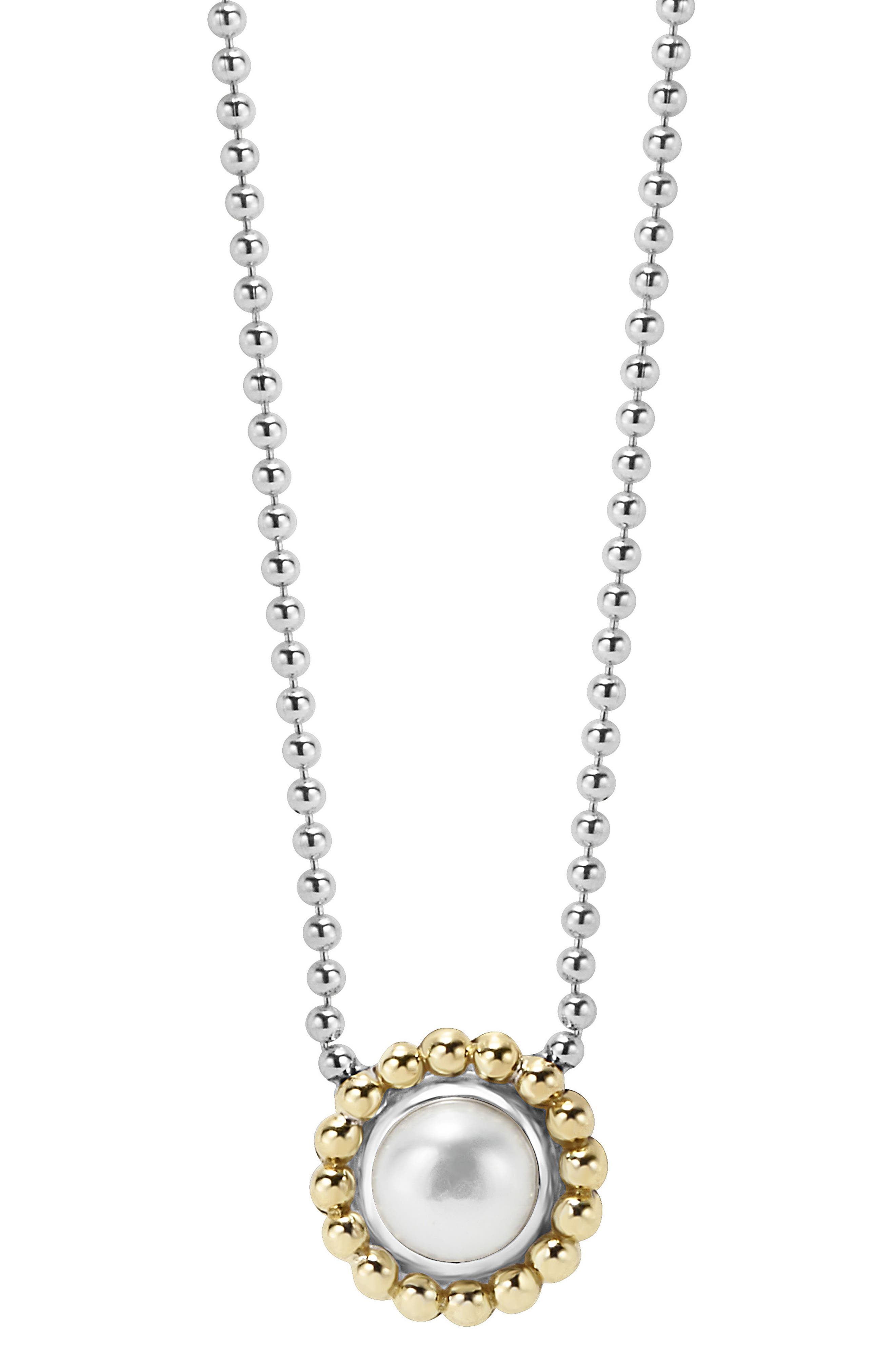 Stone Pendant Necklace,                         Main,                         color, PEARL