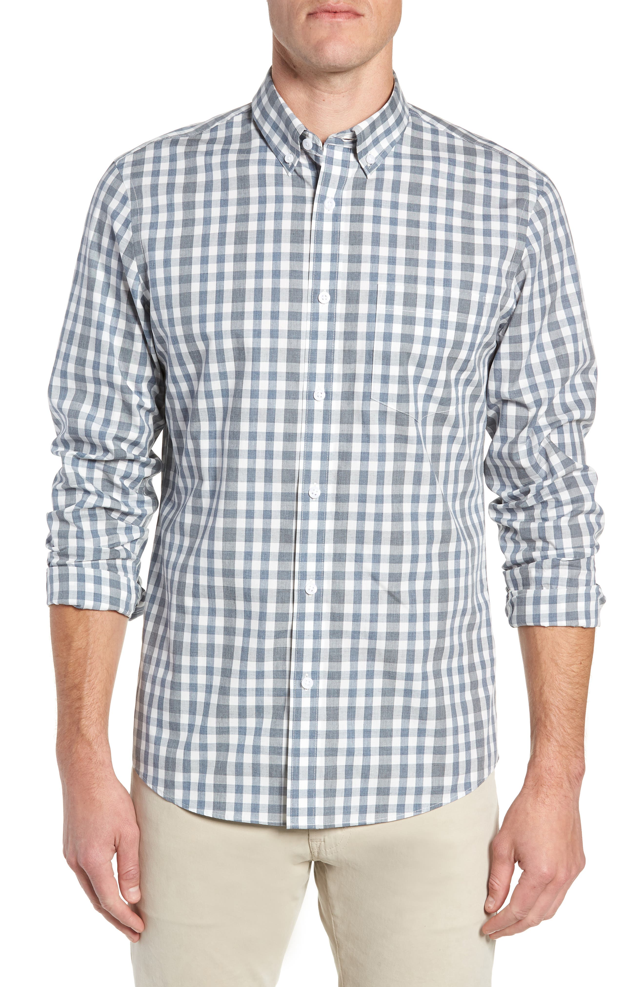Nordstrom Shop Traditional Fit Plaid Sport Shirt, Blue