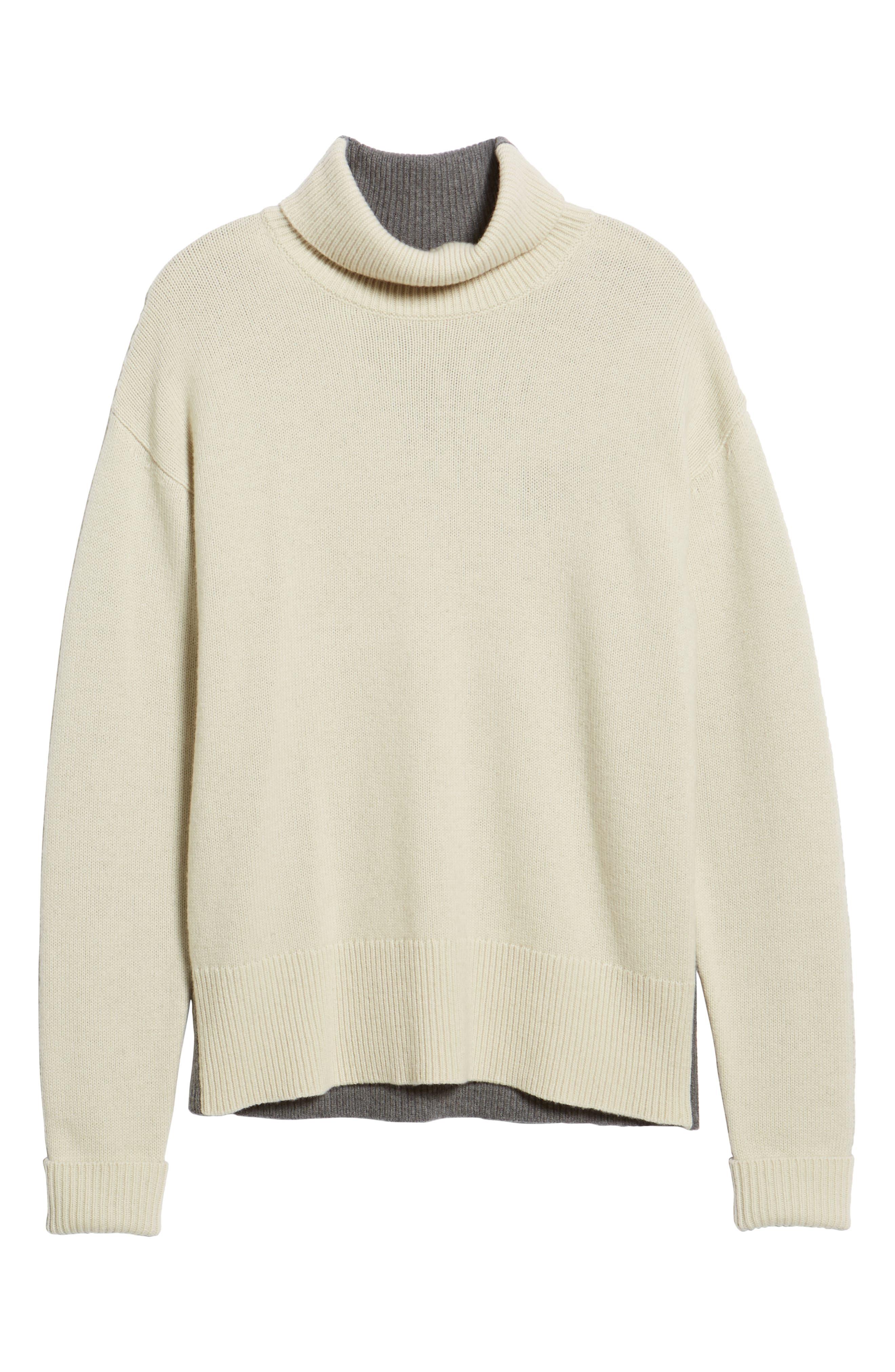 Colorblock Turtleneck Sweater,                             Alternate thumbnail 6, color,                             FOG MID GREY MELANGE