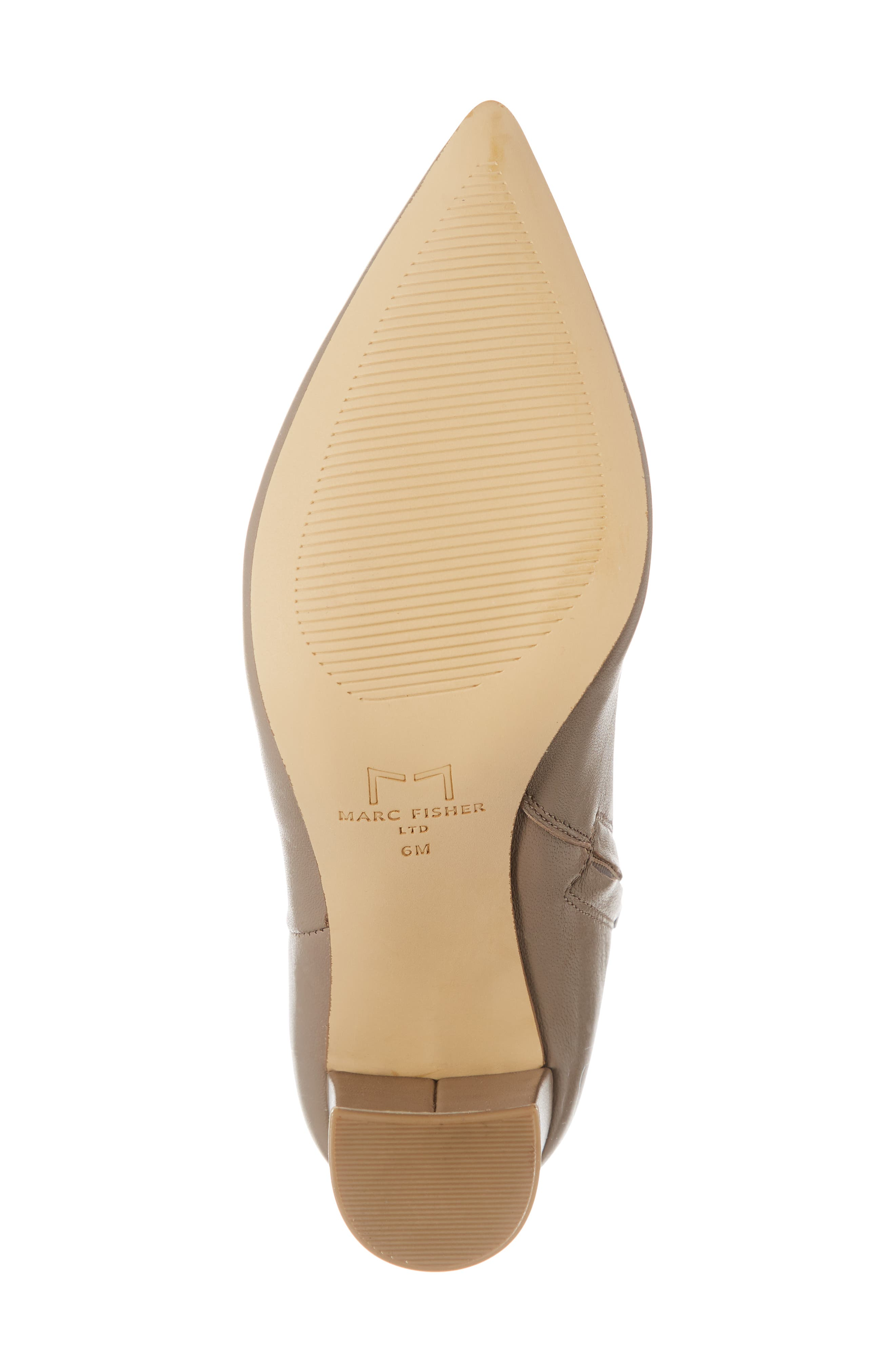 MARC FISHER LTD,                              Ulani Pointy Toe Bootie,                             Alternate thumbnail 6, color,                             TAUPE LEATHER