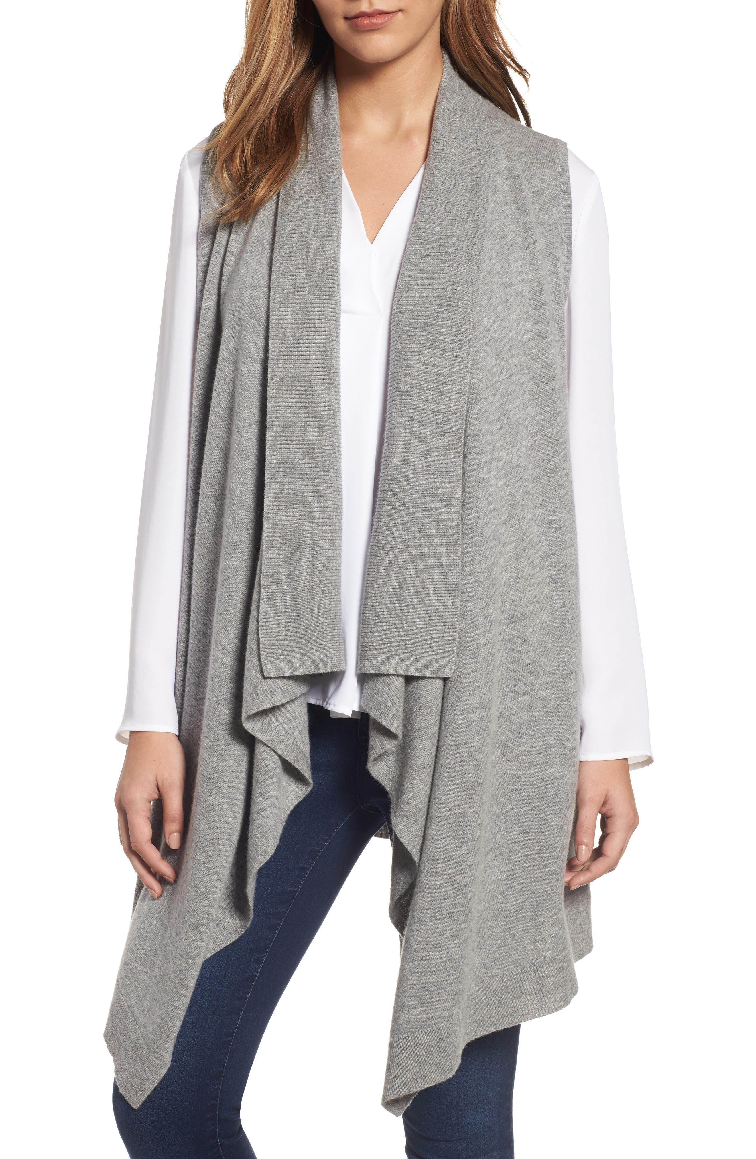 Wool & Cashmere Drape Front Sweater Vest,                             Alternate thumbnail 12, color,