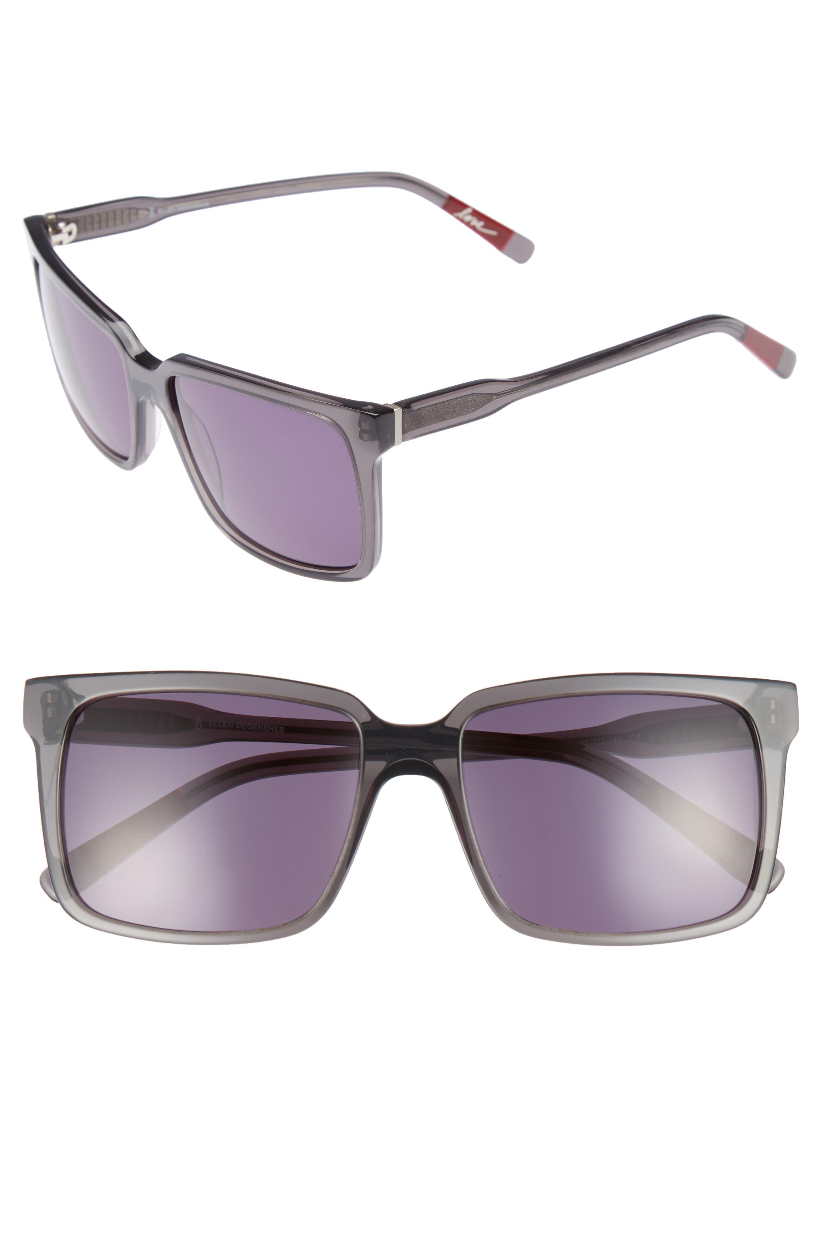 56mm Gradient Square Sunglasses,                         Main,                         color, DARK GREY