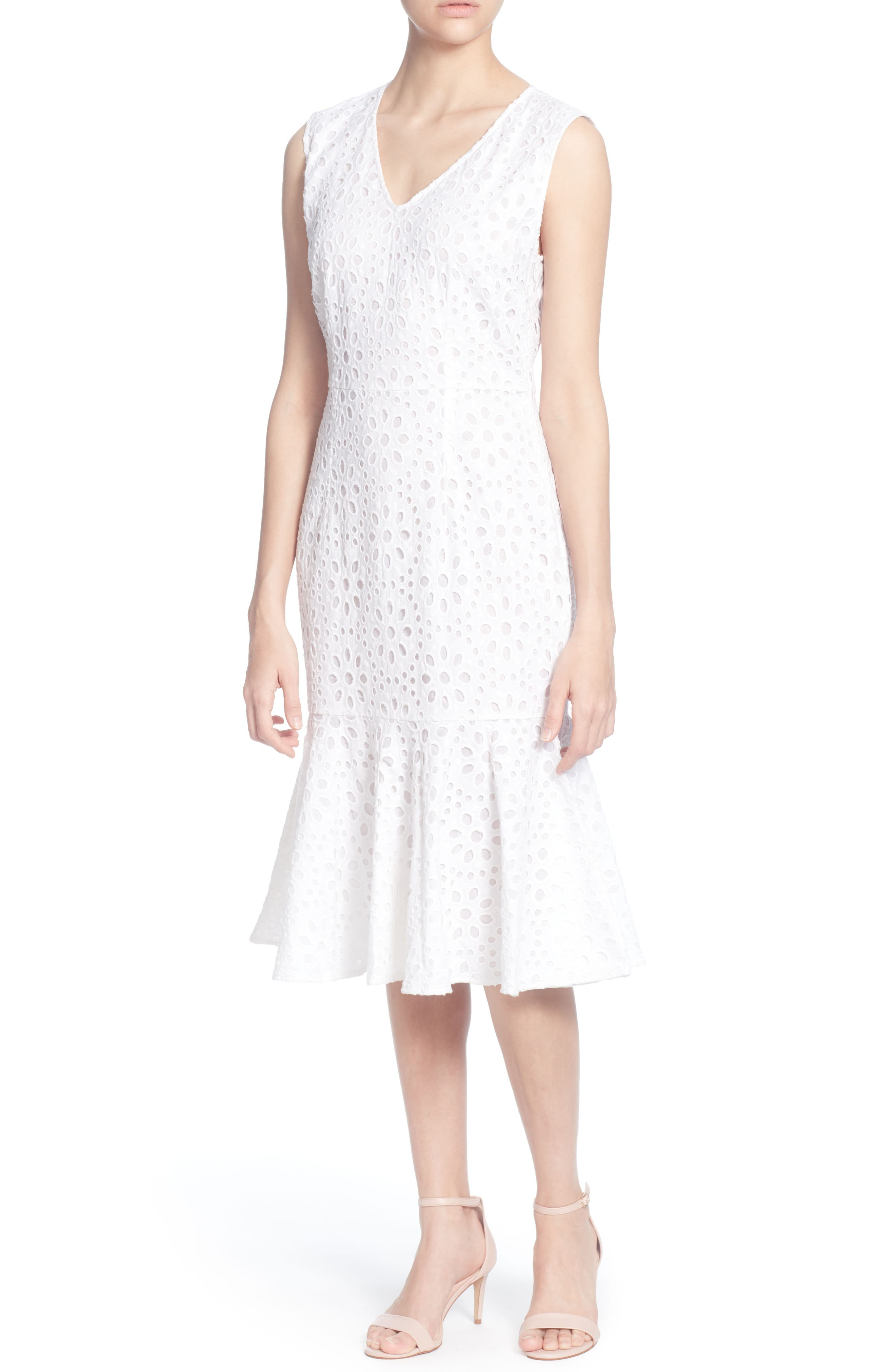 Suz Lace Sleeveless Dress,                             Main thumbnail 1, color,                             BRIGHT WHITE