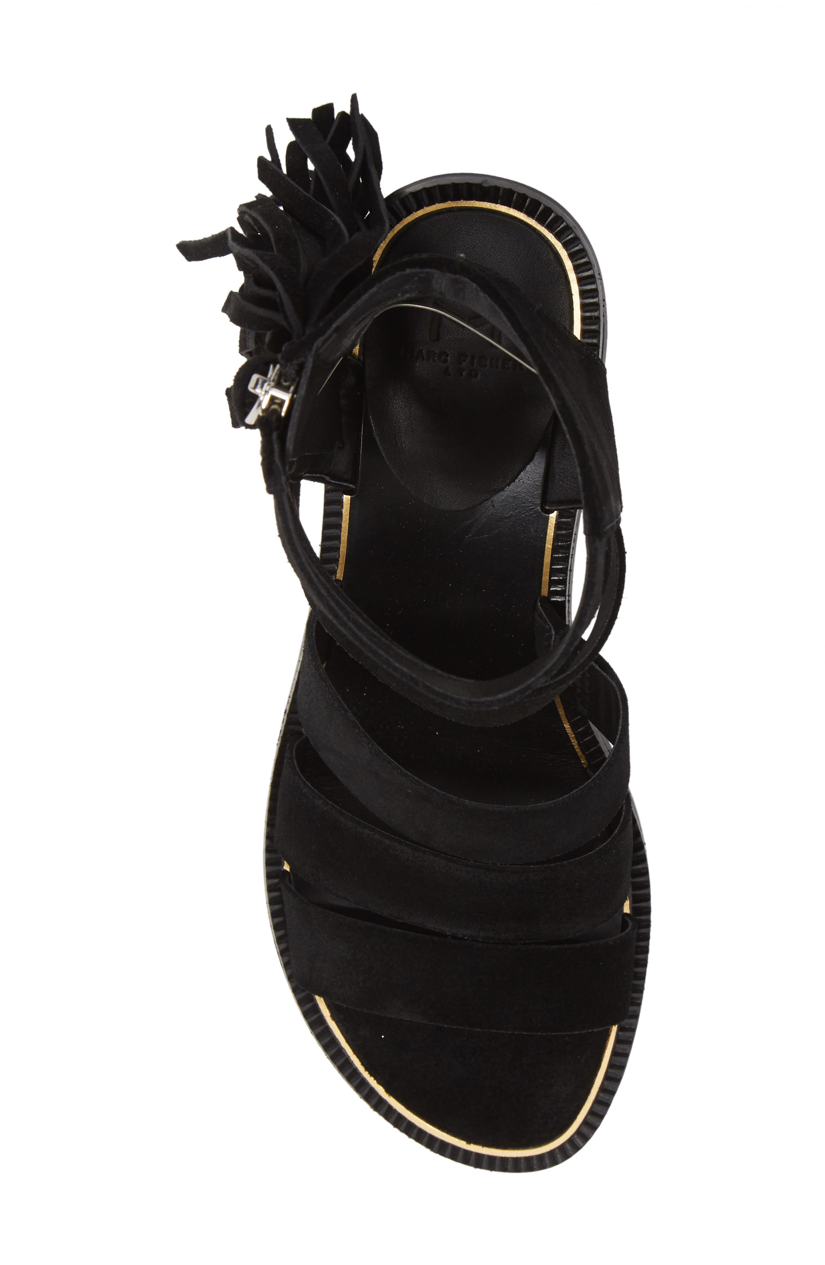 Collin Fringe Sandal,                             Alternate thumbnail 5, color,                             BLACK SUEDE