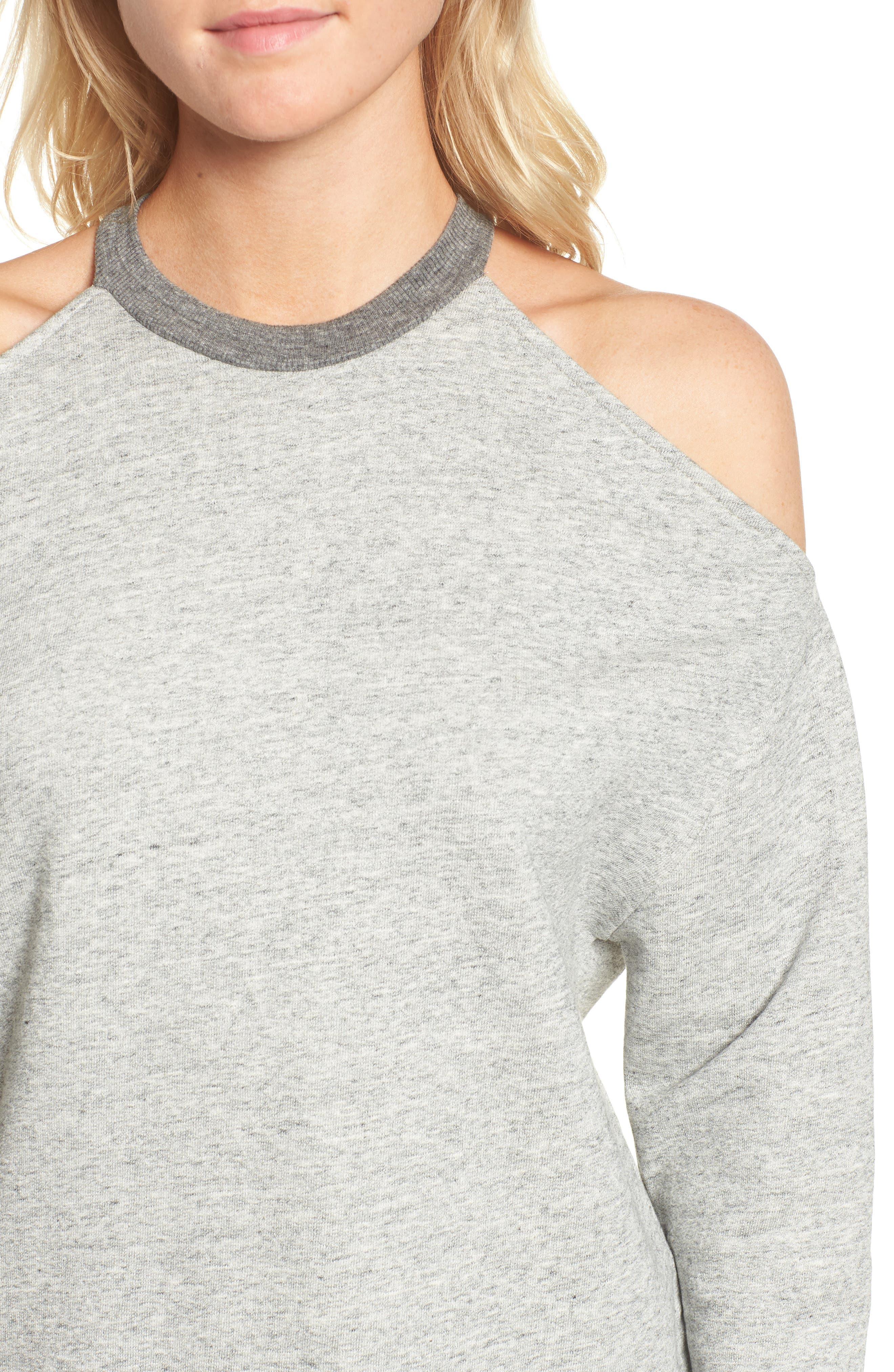 Gizi Cold Shoulder Sweatshirt,                             Alternate thumbnail 4, color,                             022