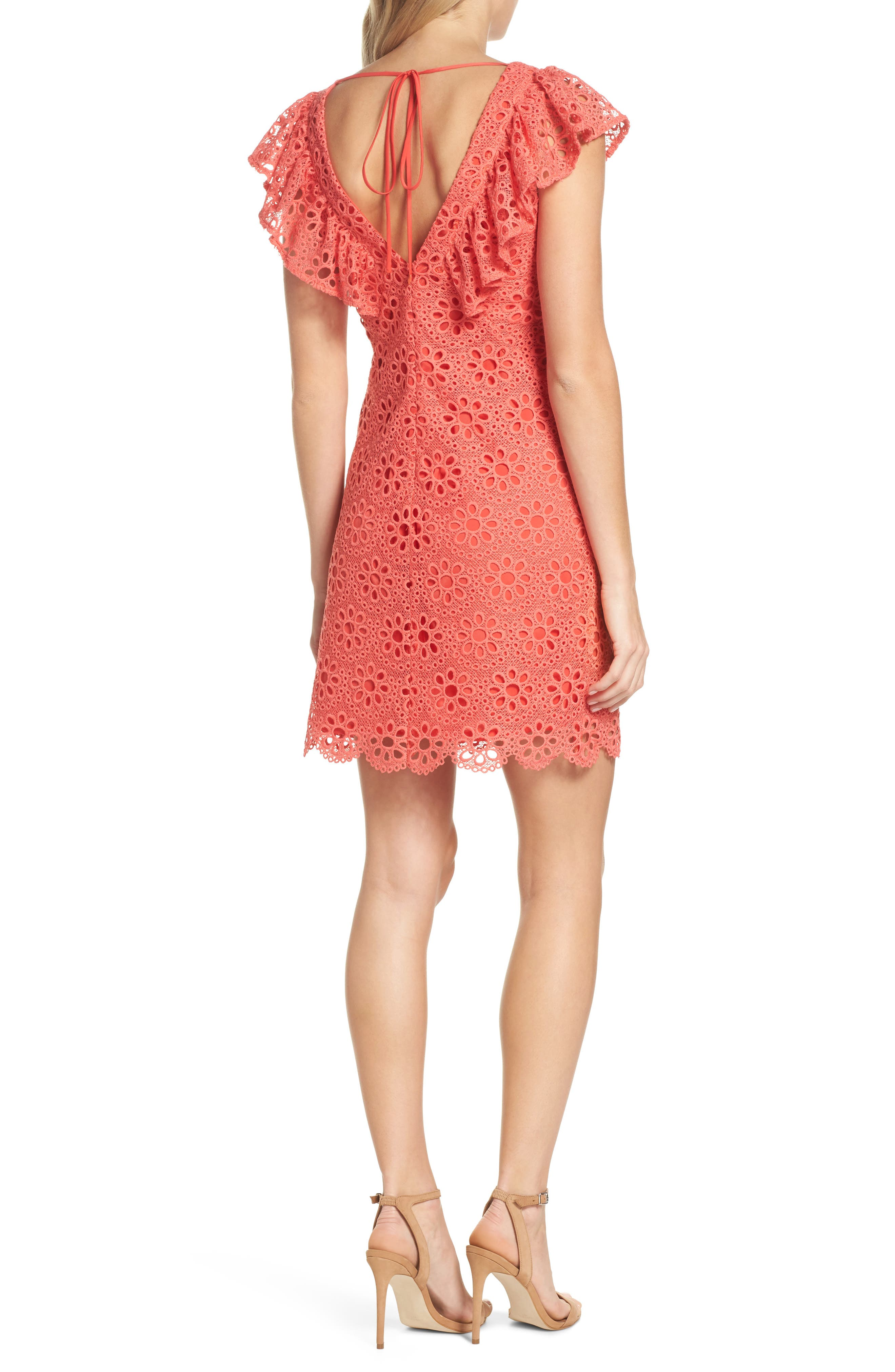 Neriah Eyelet Embroidered Dress,                             Alternate thumbnail 2, color,                             CORAL LILLY