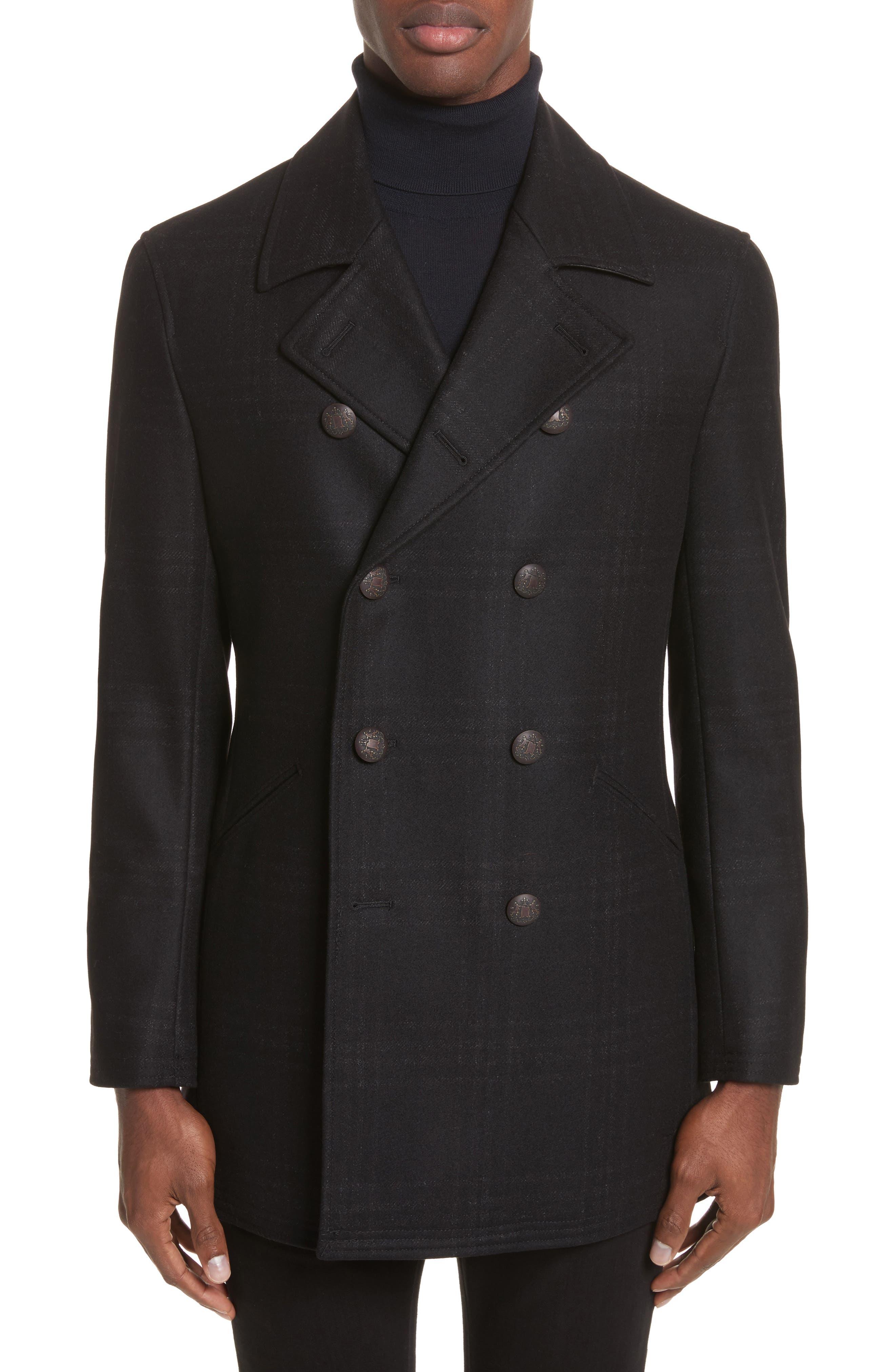 Hook Plaid Wool Blend Topcoat,                         Main,                         color, 001