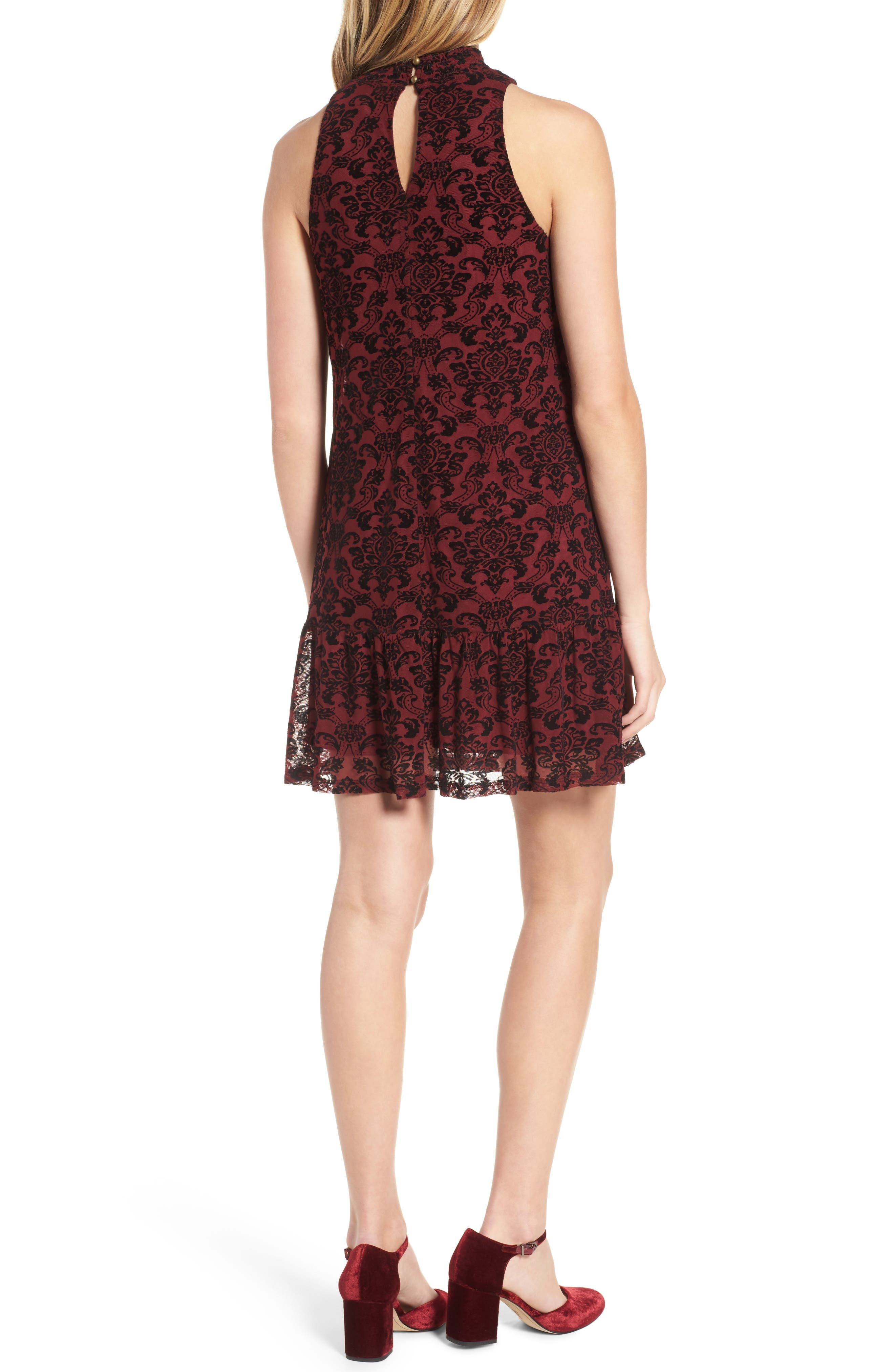 Flocked Mesh Ruffle Hem Dress,                             Alternate thumbnail 2, color,