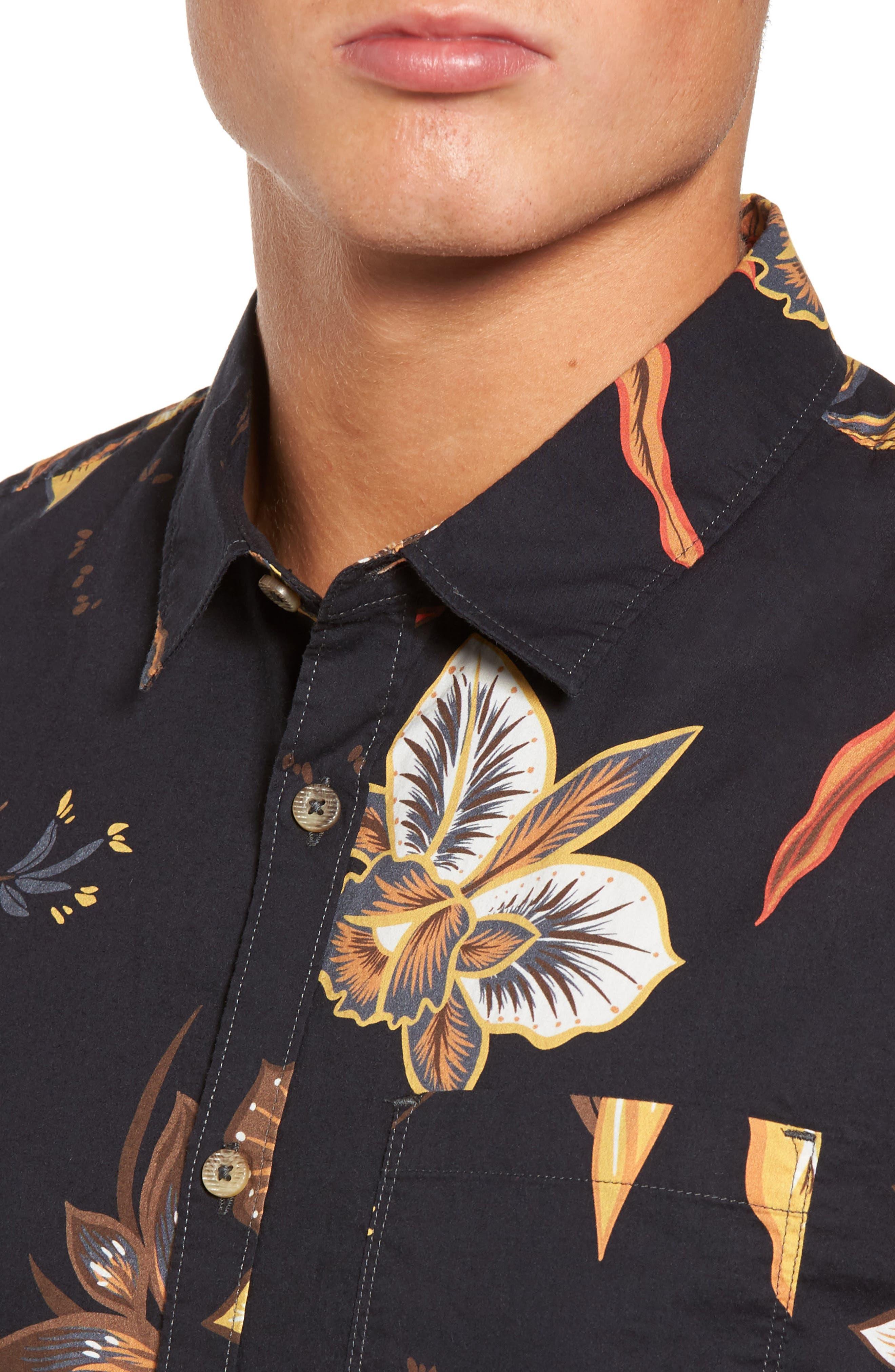 Sunday Floral Woven Shirt,                             Alternate thumbnail 4, color,                             001