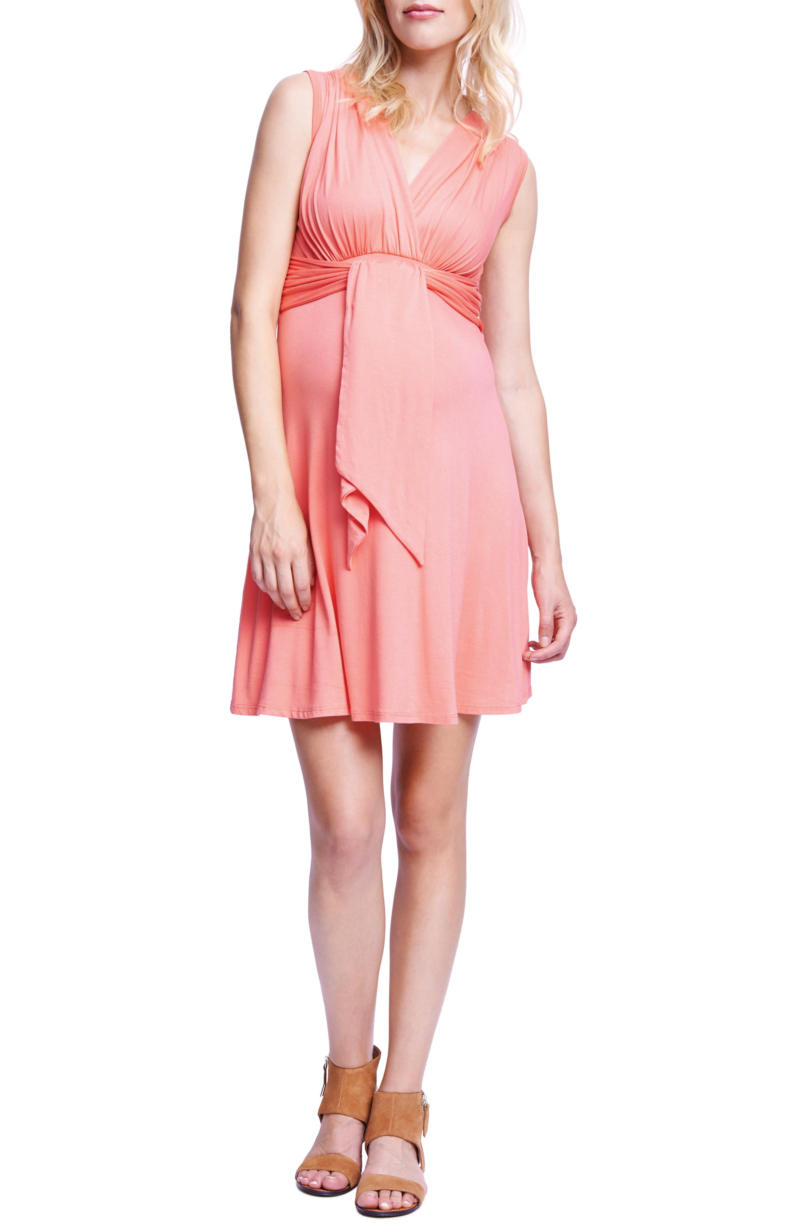 Tie Front Maternity Dress,                             Alternate thumbnail 2, color,                             CORAL
