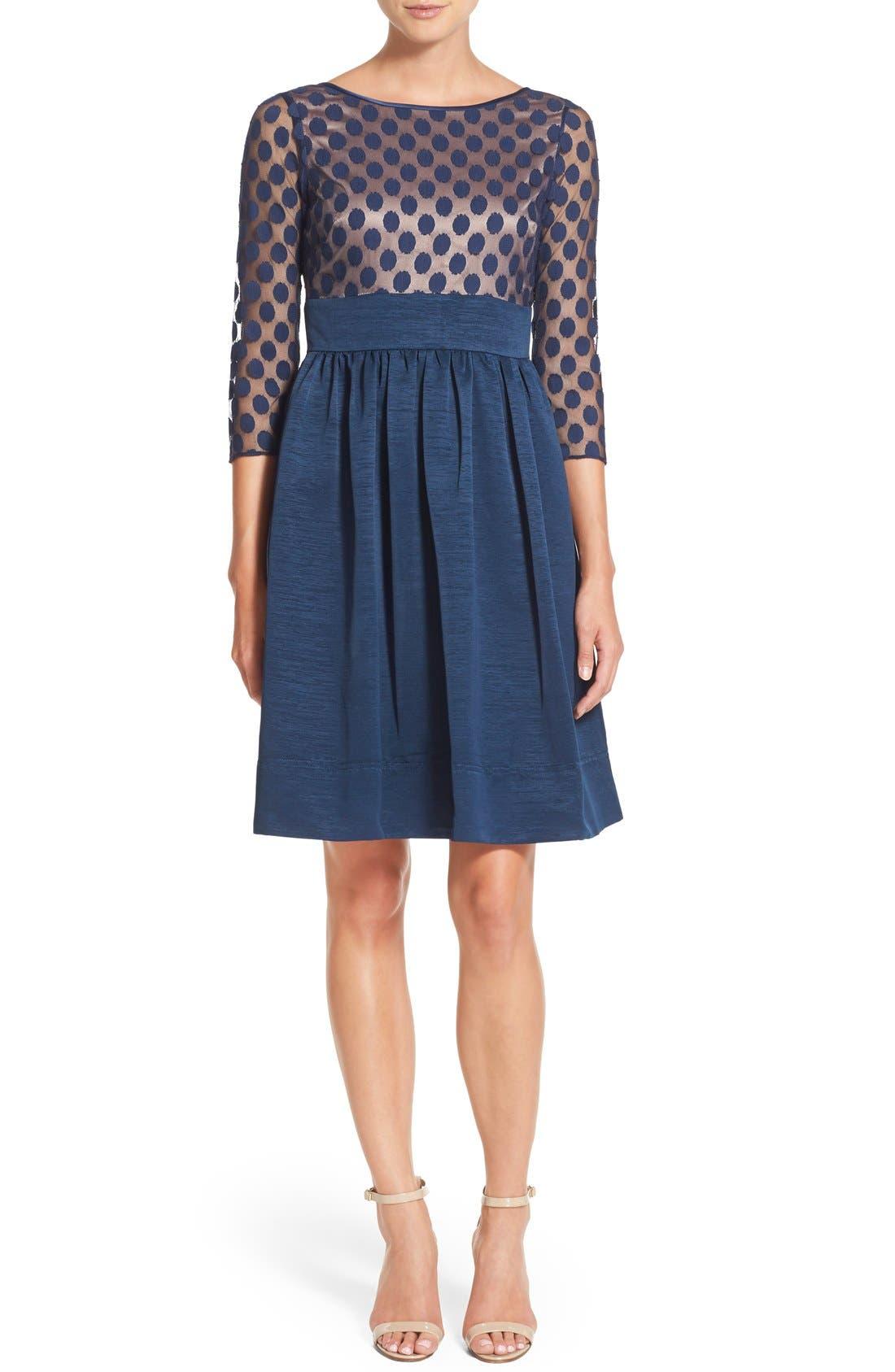 Dot Mesh Bodice Fit & Flare Dress,                             Alternate thumbnail 11, color,