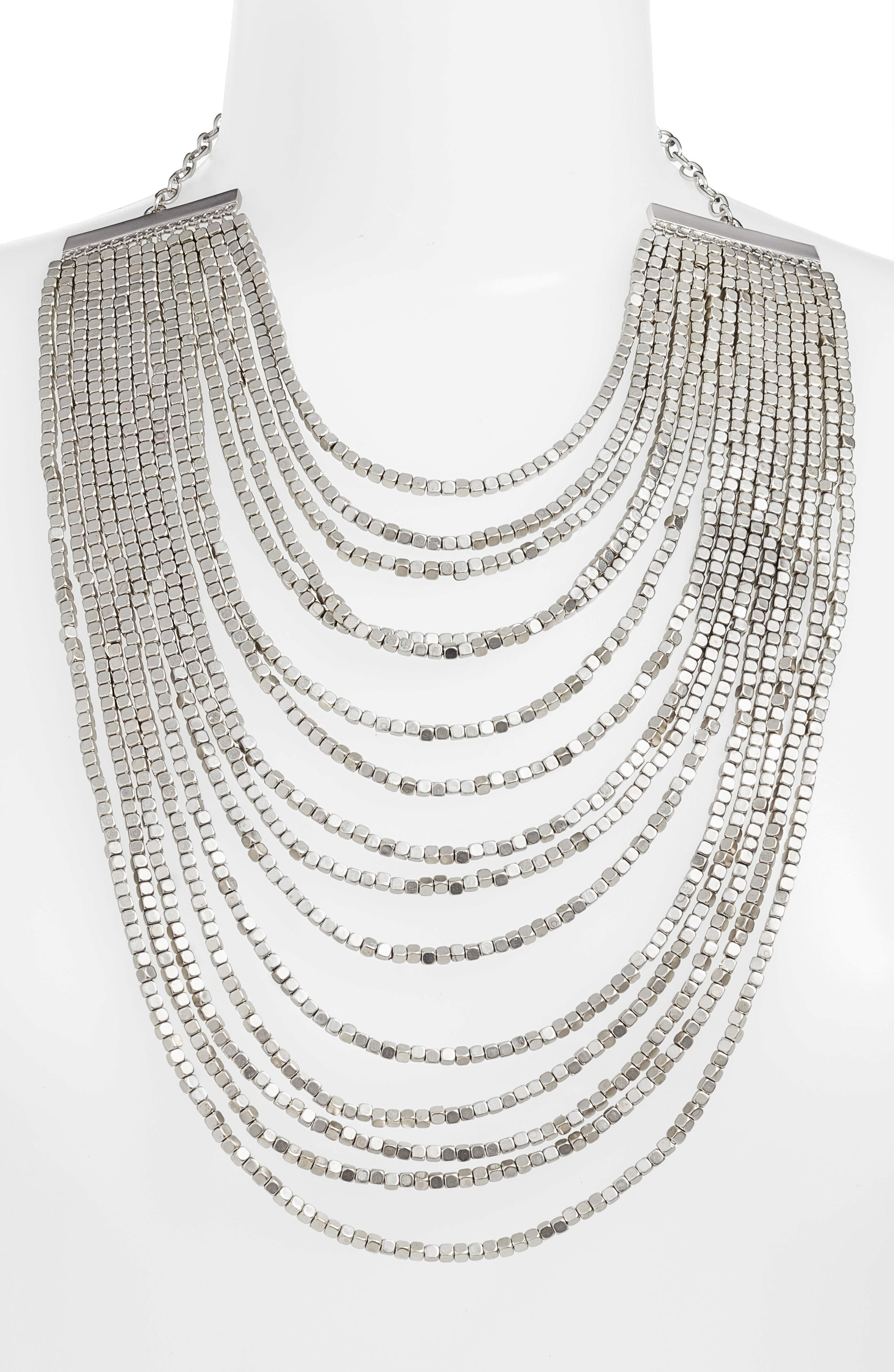 Joan Beaded Multistrand Necklace,                             Alternate thumbnail 2, color,                             SILVER