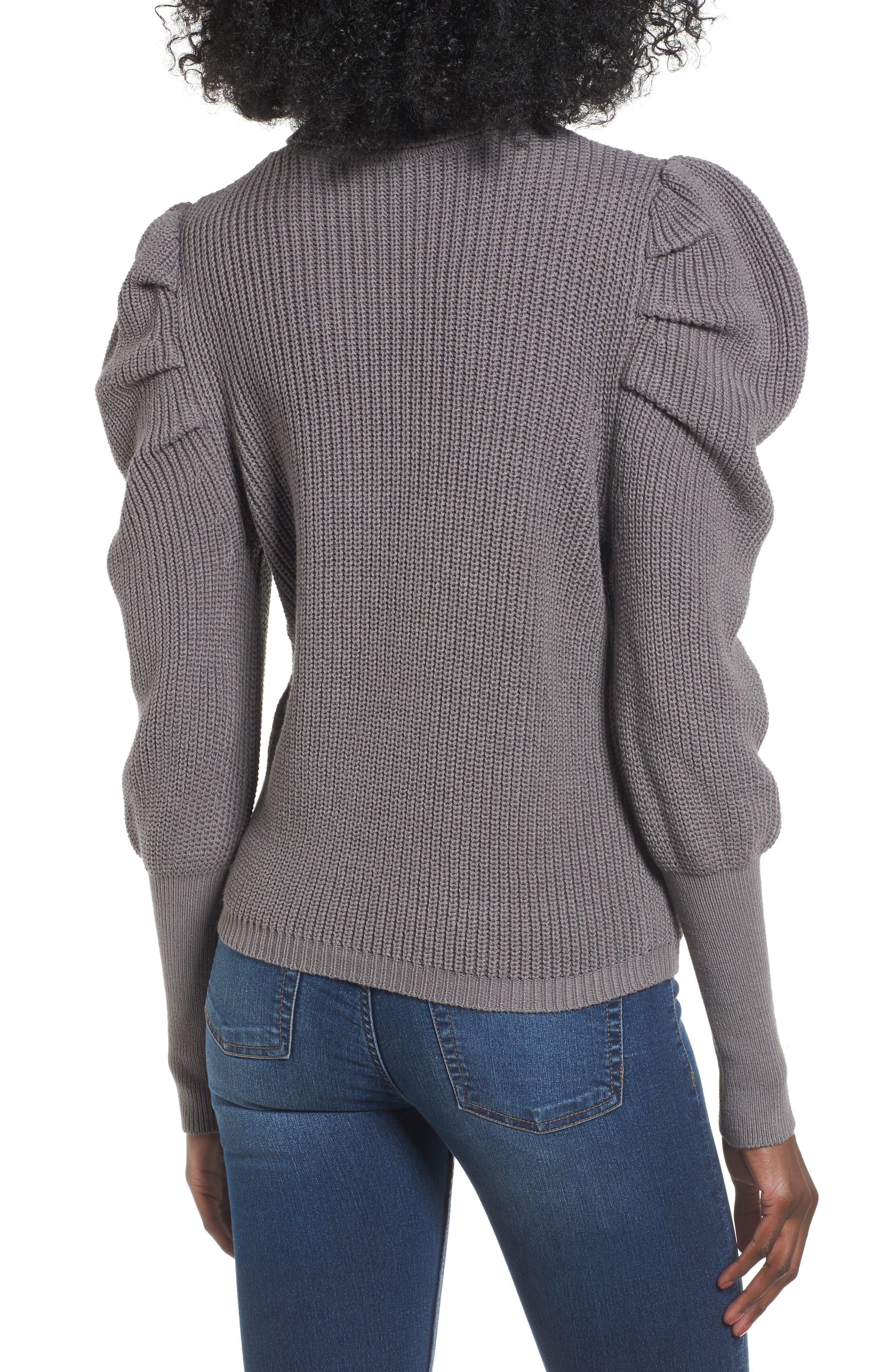 Puff Sleeve Turtleneck Sweater,                             Alternate thumbnail 2, color,                             030