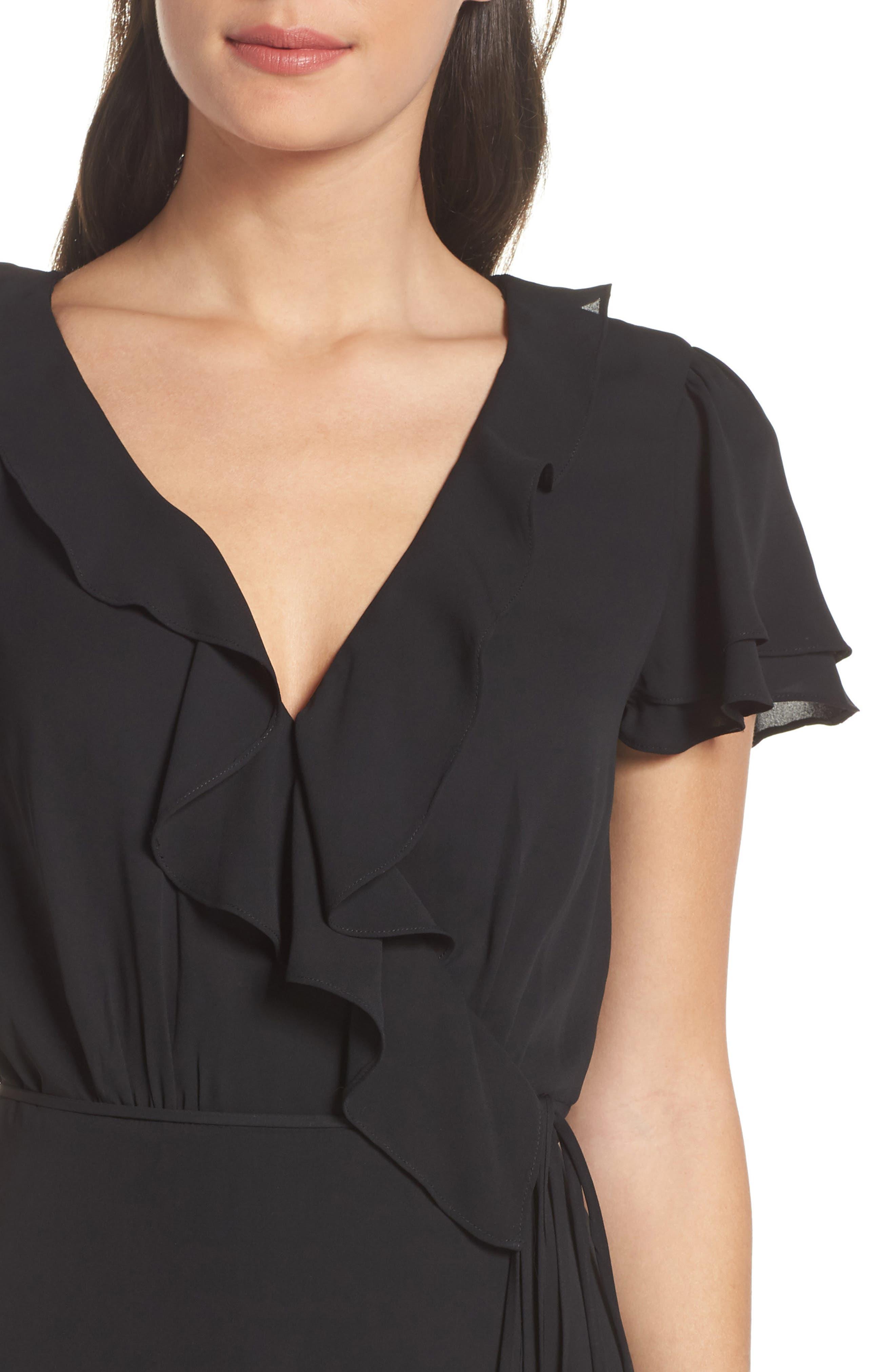 WAYF,                             The Evaline Flutter Ruffle Wrap Gown,                             Alternate thumbnail 5, color,                             BLACK