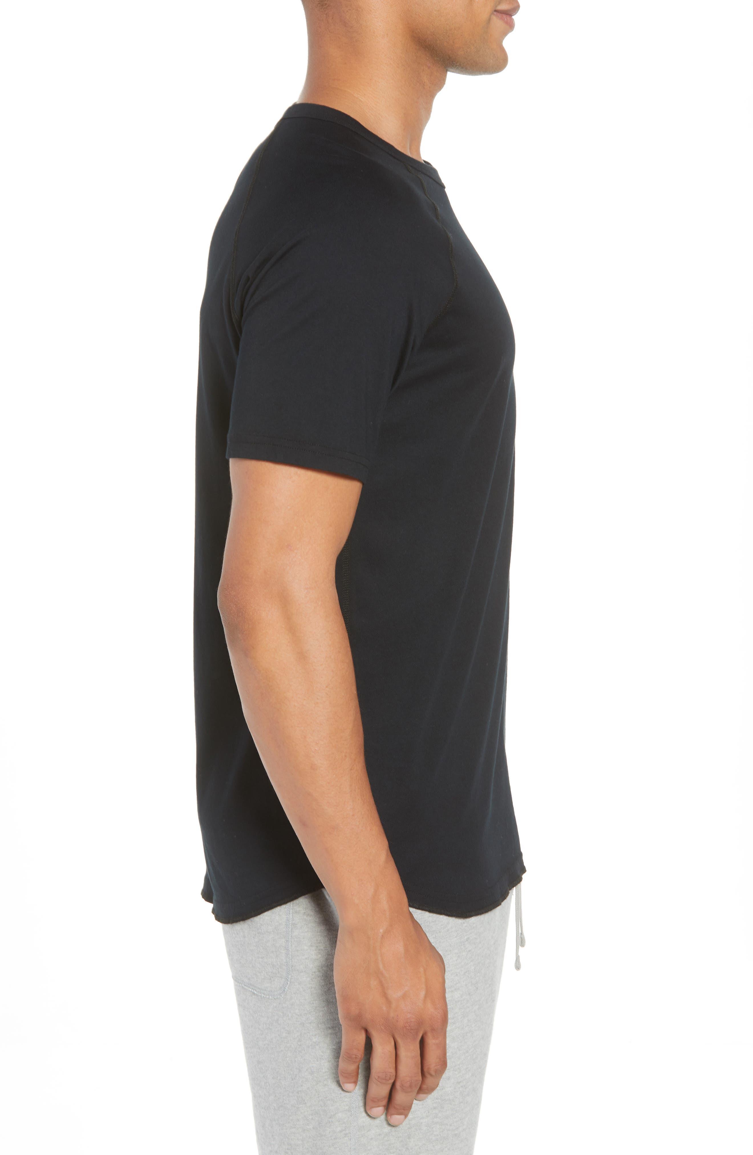Logo Crewneck T-Shirt,                             Alternate thumbnail 3, color,                             BLACK