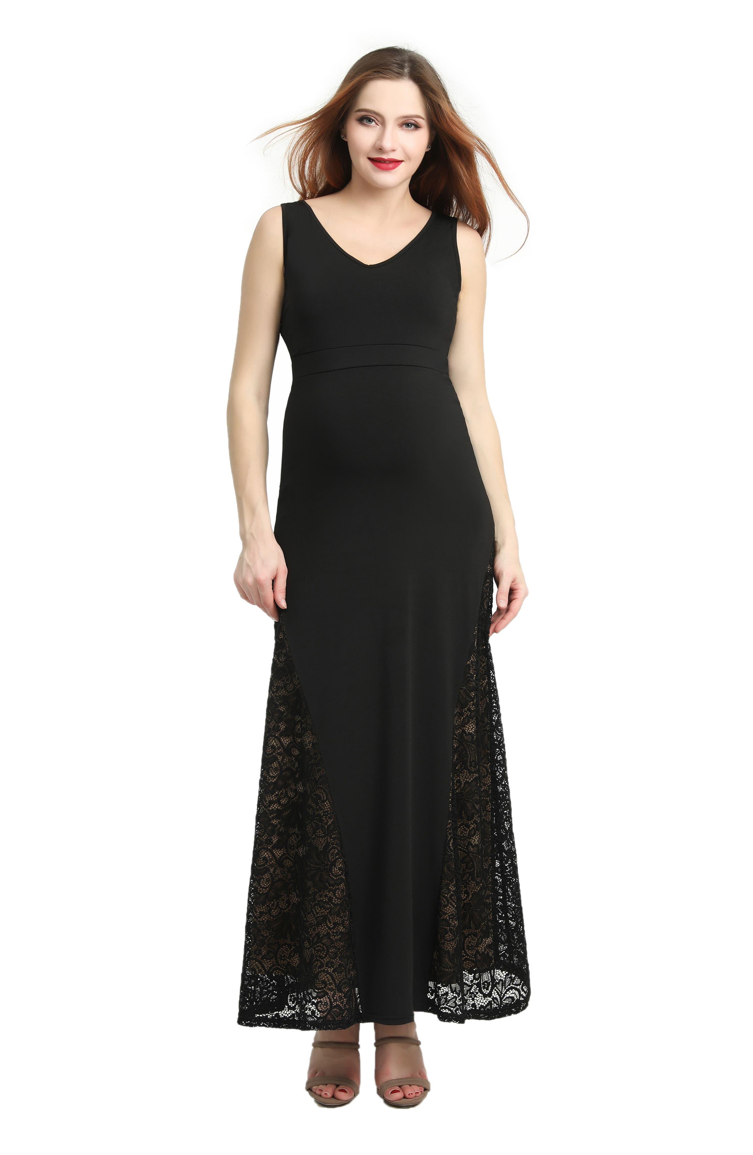 Elizabeth Lace Maternity Maxi Dress,                             Alternate thumbnail 4, color,                             BLACK